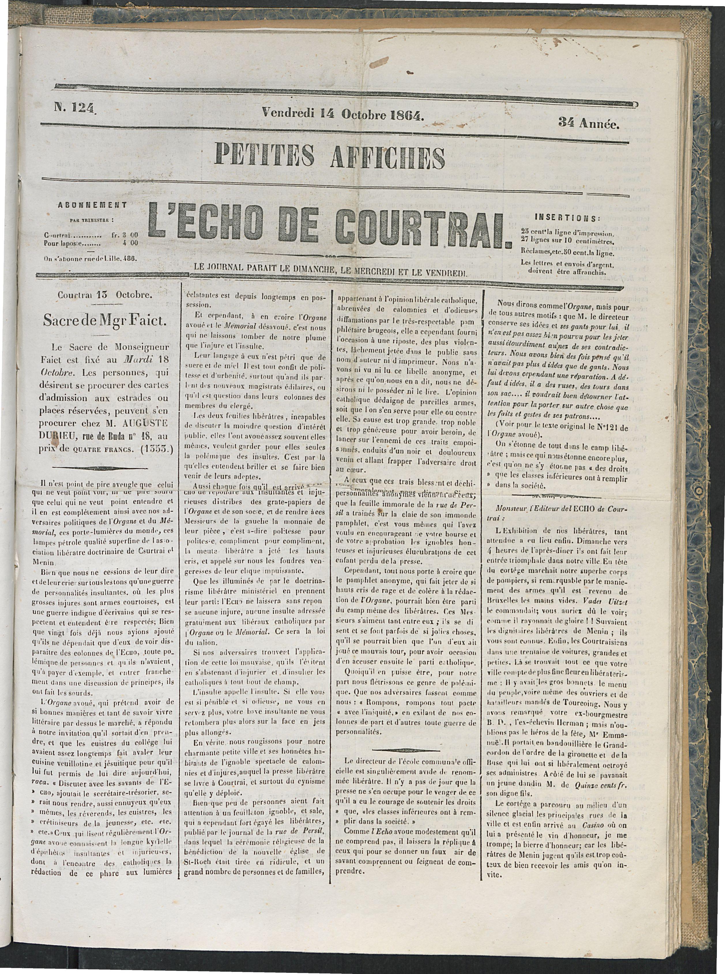 L'echo De Courtrai 1864-10-14 p1