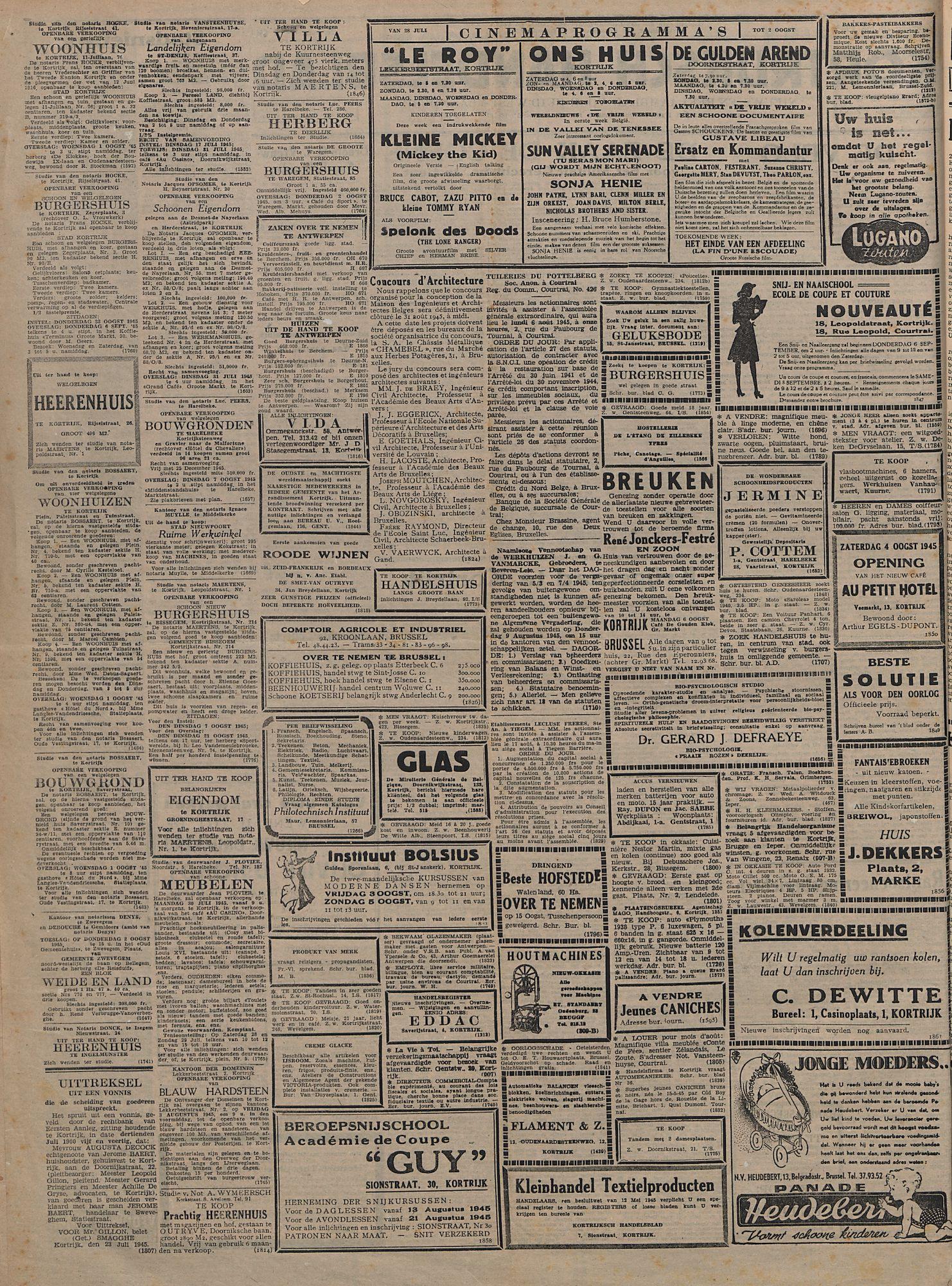 Kortrijksch Handelsblad 28 juli 1945 Nr60 p2