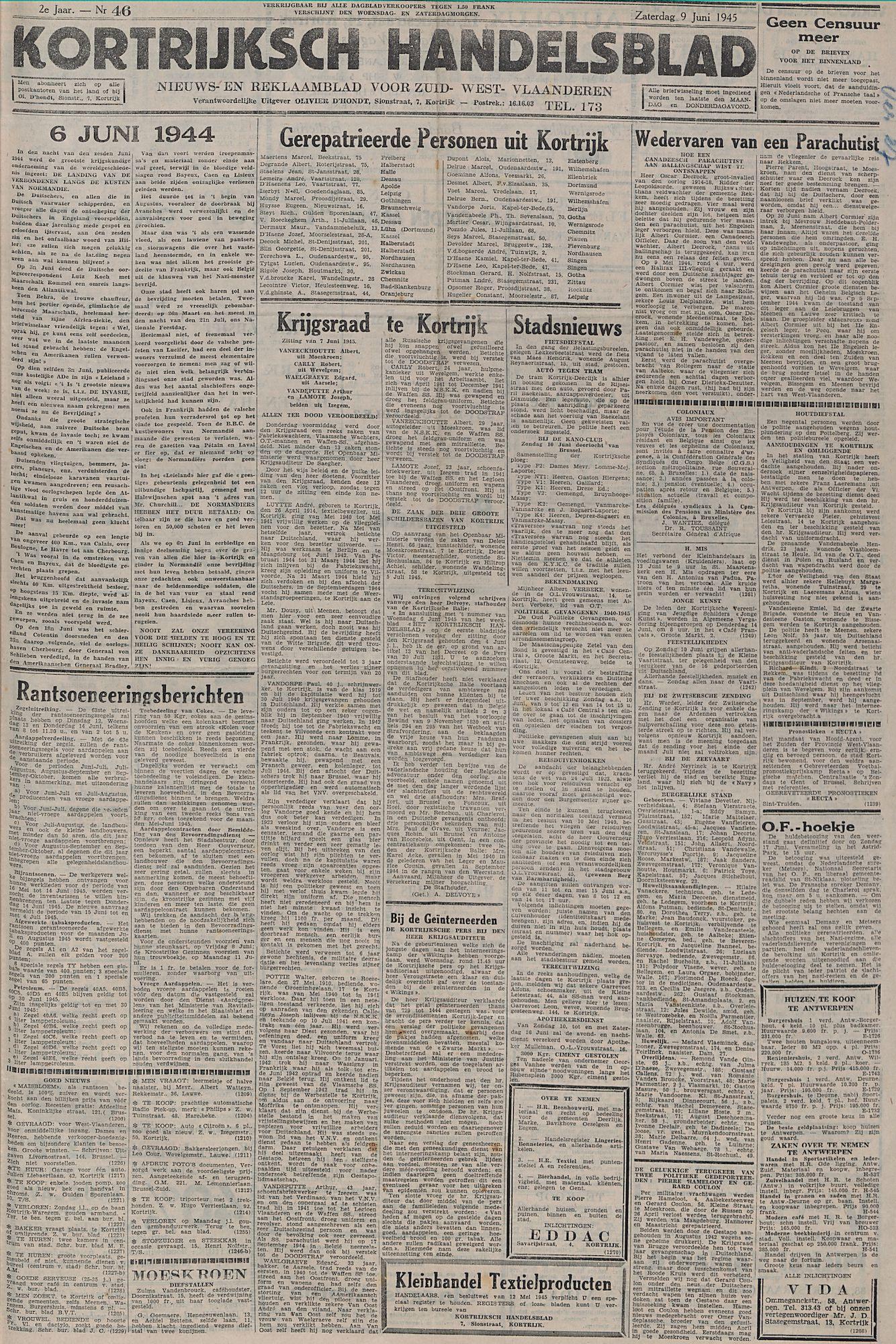Kortrijksch Handelsblad 9 juni 1945 Nr46 p1