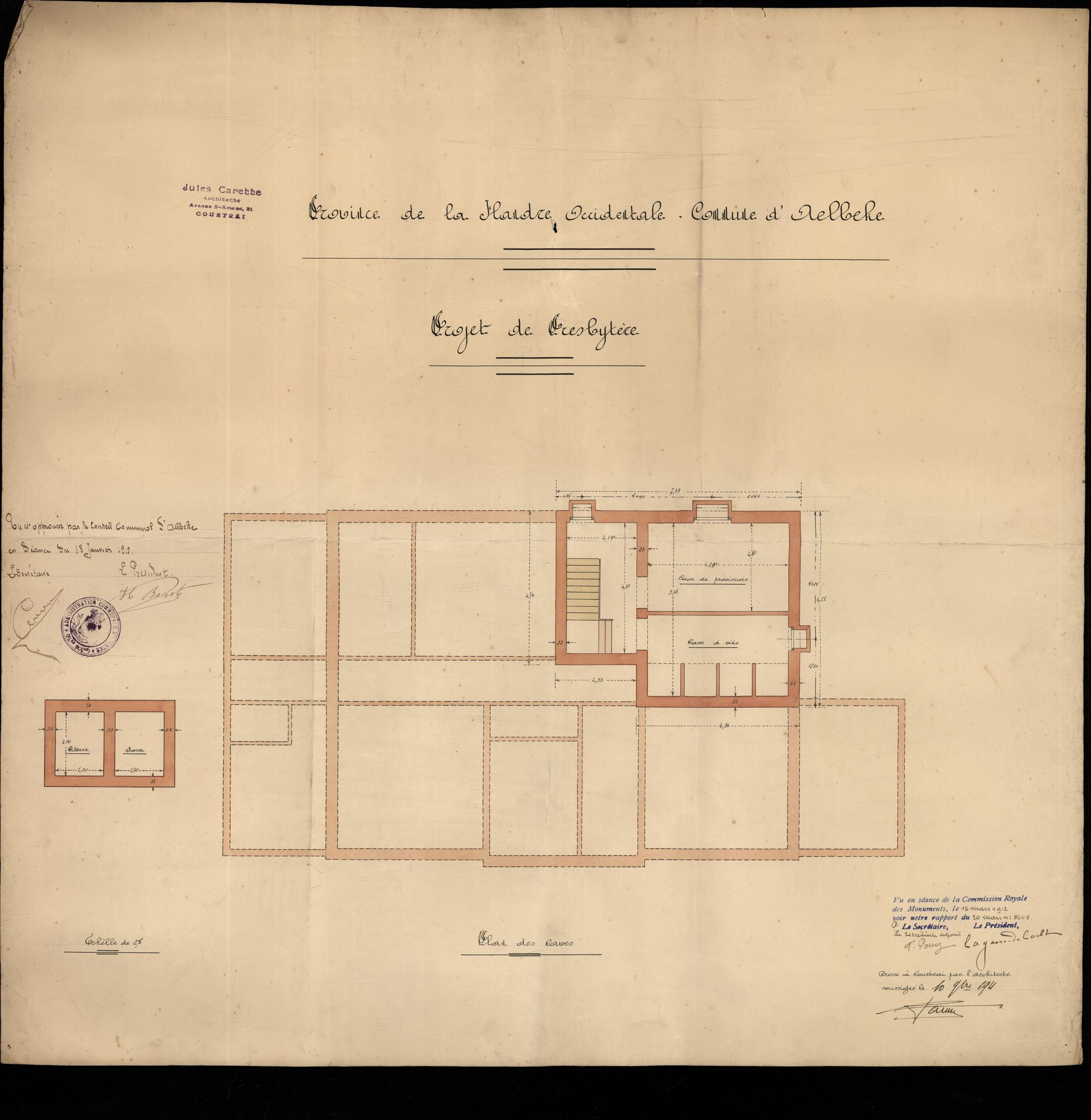 Bouwplannen voor de verbouwing van de pastorie te Aalbeke, 1911-1912
