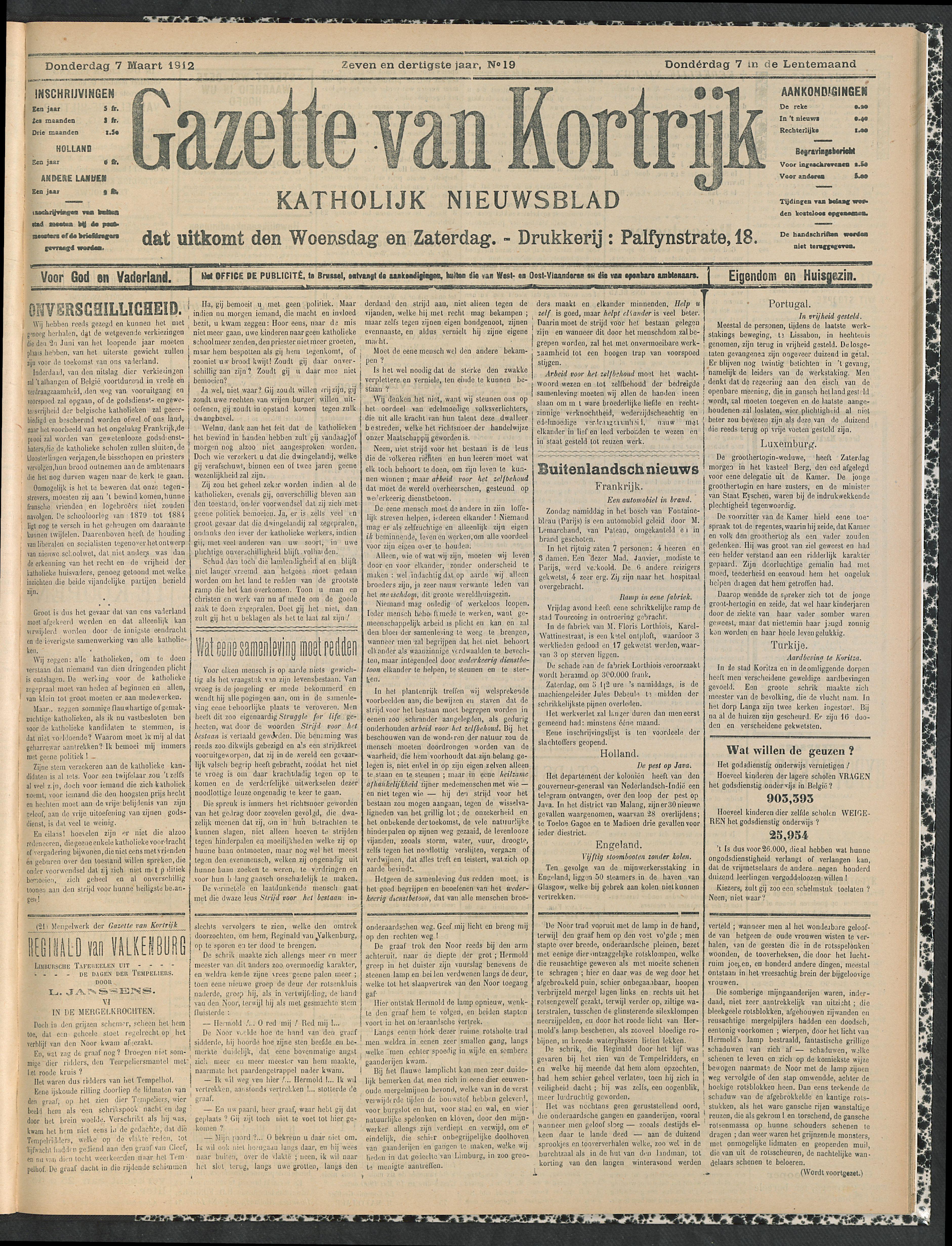Gazette Van Kortrijk 1912-03-07 p1