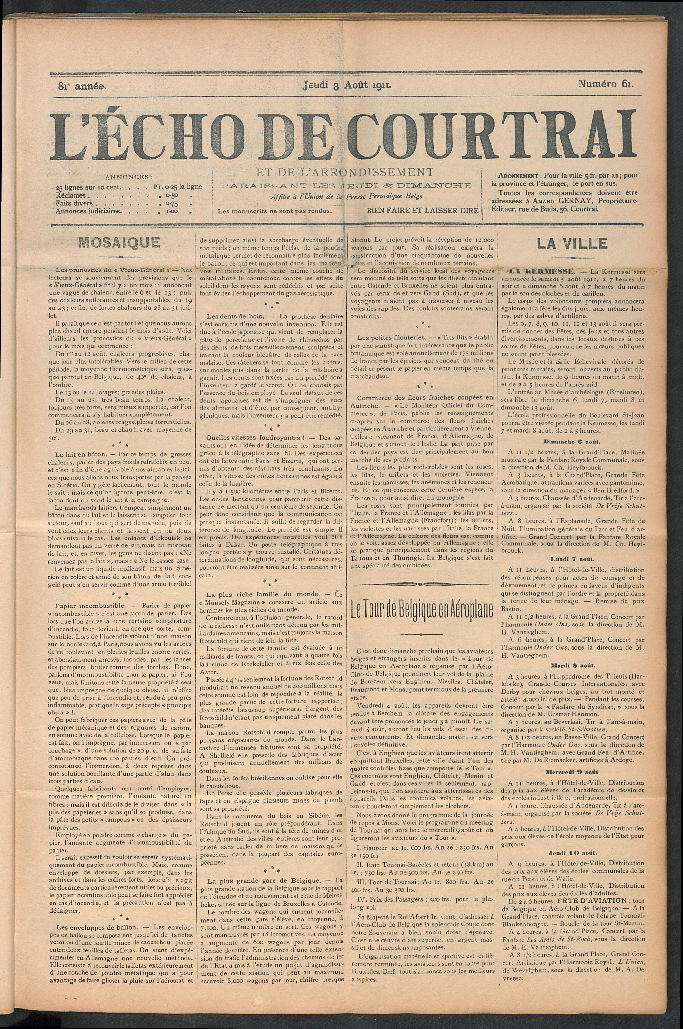 L'echo De Courtrai 1911-08-03 p1