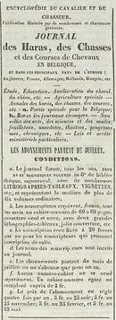 JOURNAL des Haras, des Chasses