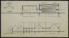 Bouwplannen met voorontwerp van een ontmoetingscentrum te Aalbeke, 1976