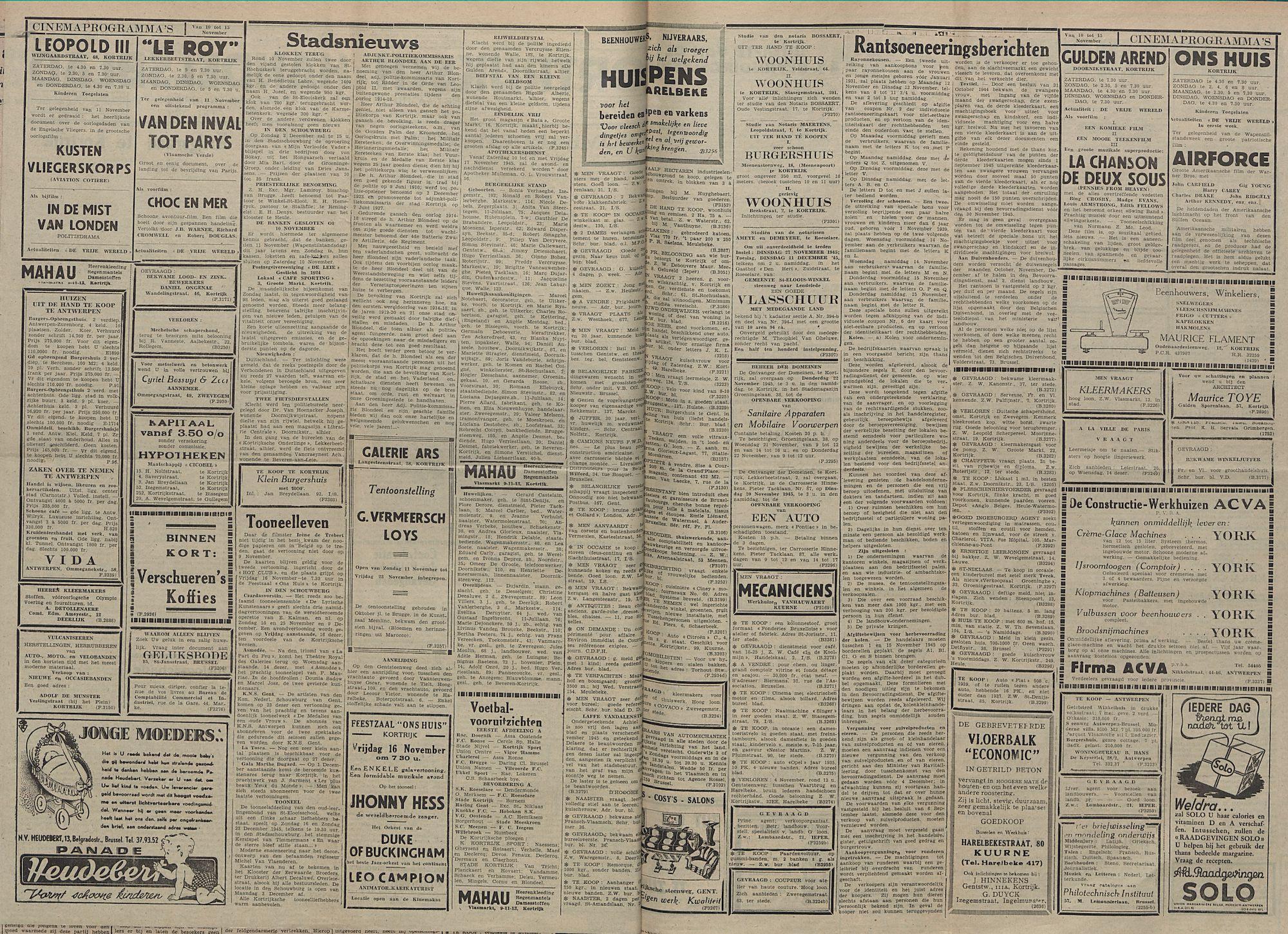 Kortrijksch Handelsblad 9 november 1945 Nr90 p2 en 3