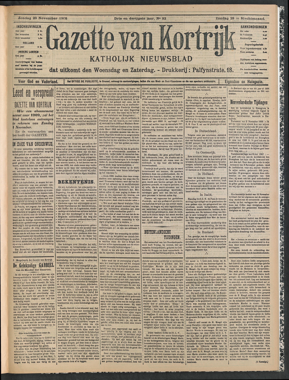 Gazette Van Kortrijk 1908-11-29 p1