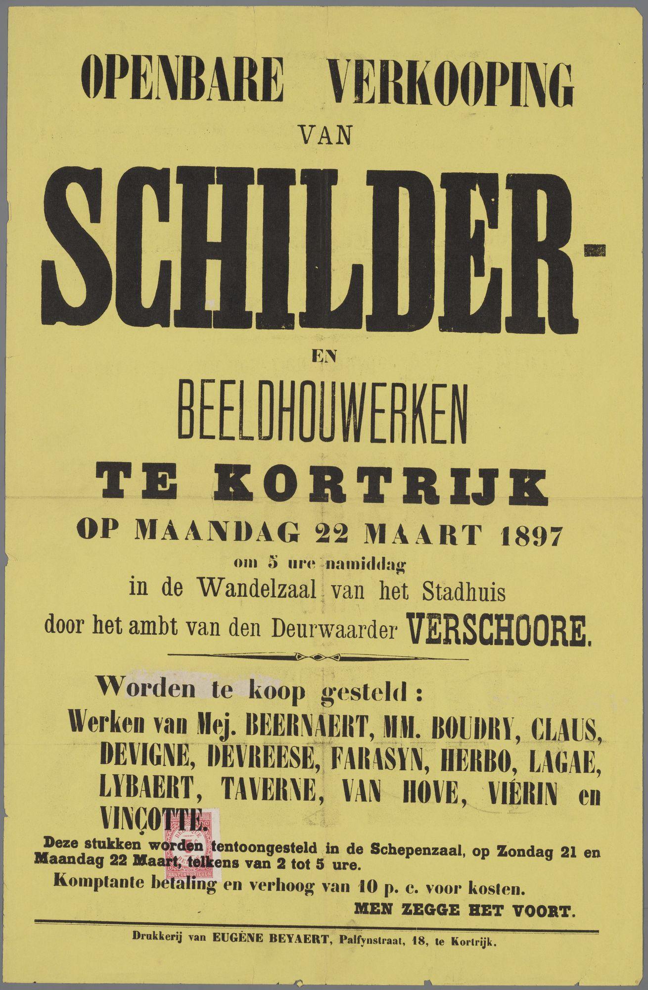 Openbare verkoop van kunstwerken 1897