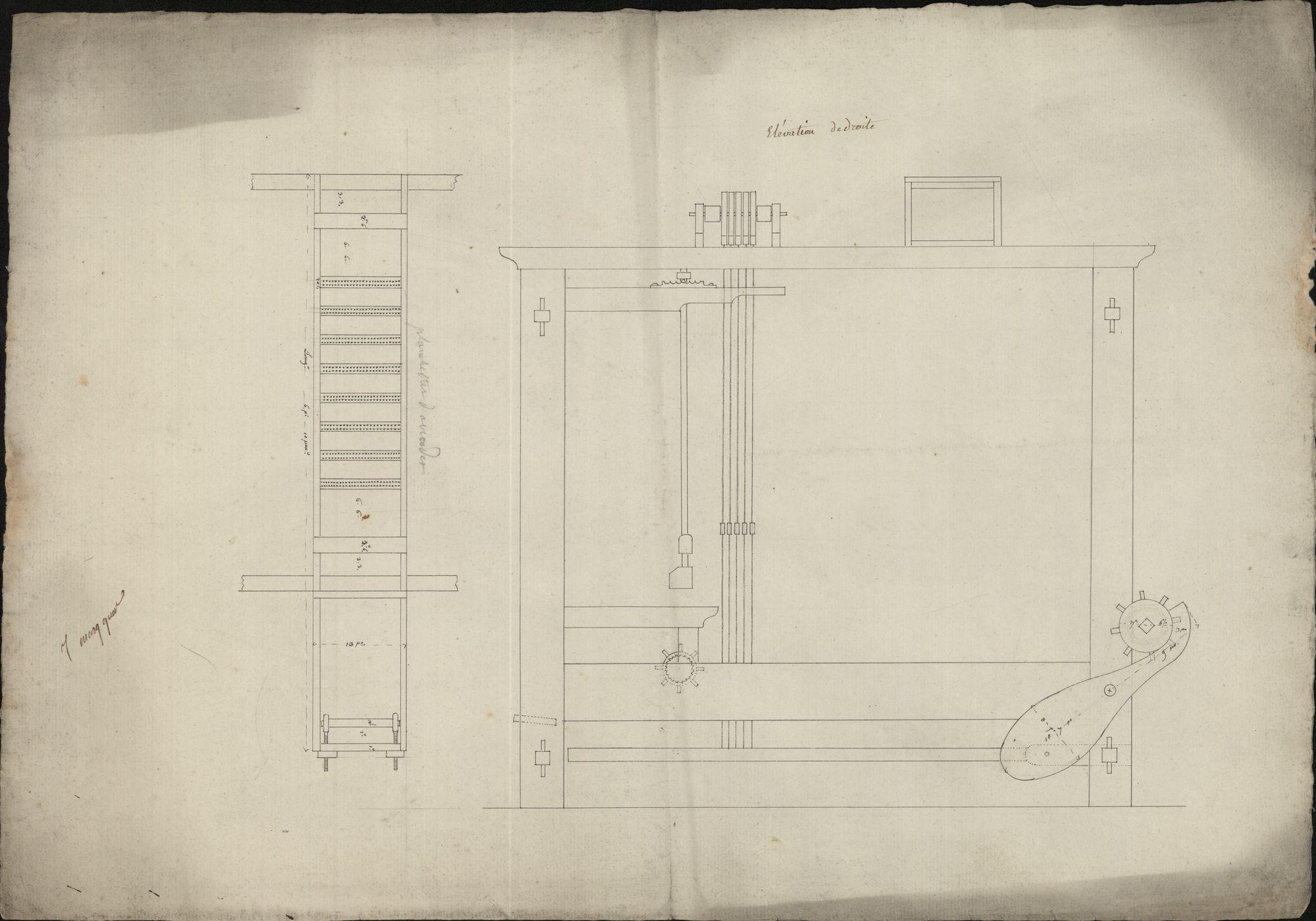 Bouwplannen van een weefgetouw, 19de eeuw