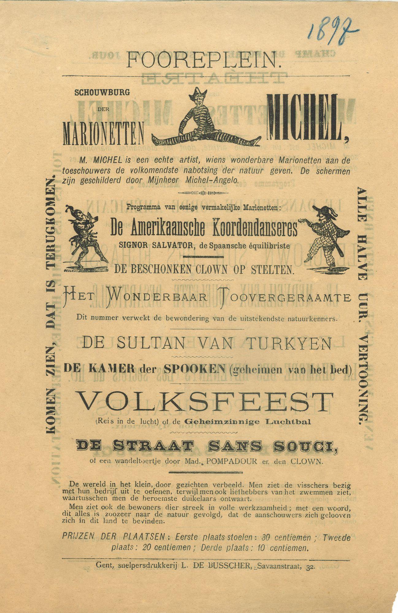 Paasfoor 1898: Poppentheater Michel