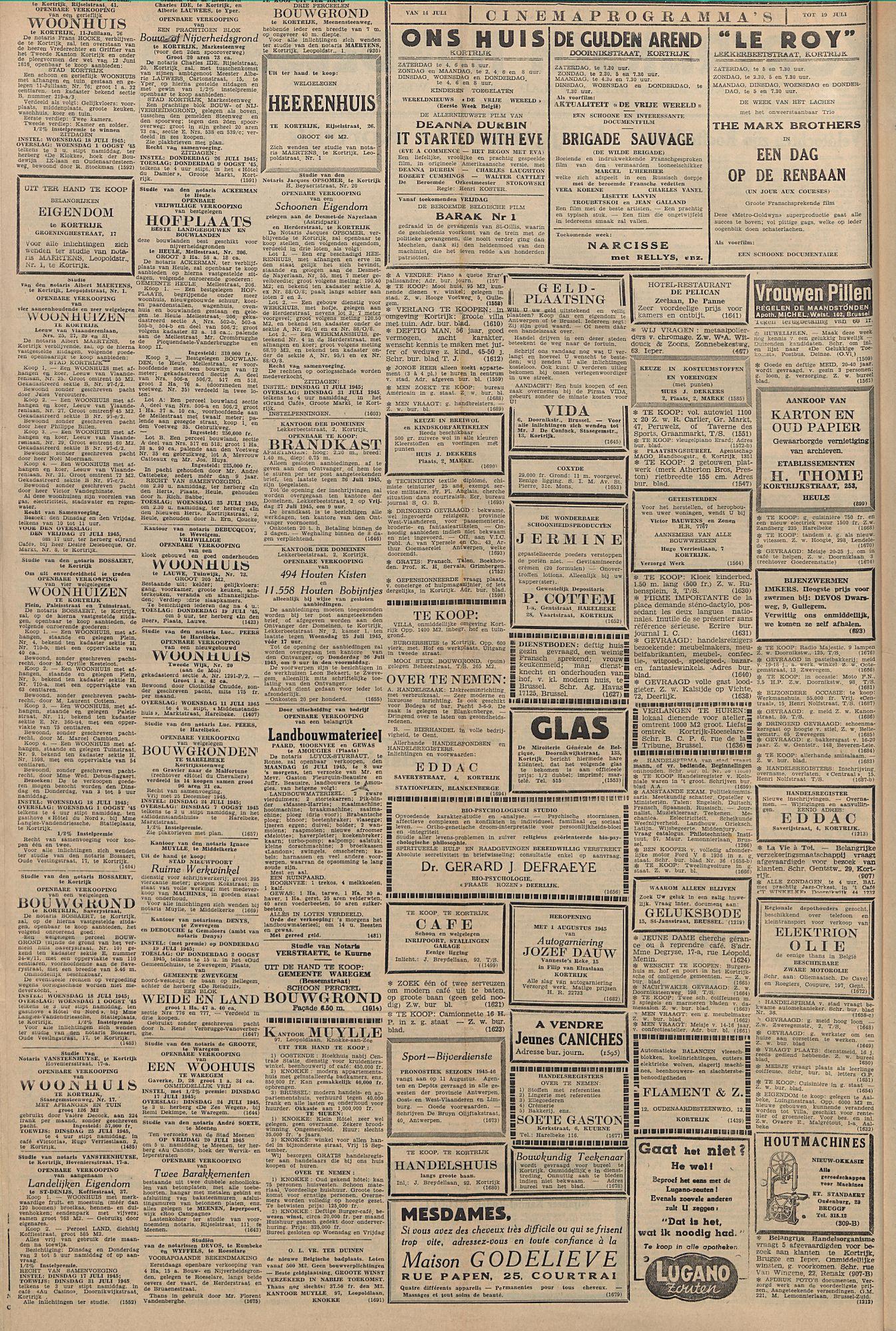 Kortrijksch Handelsblad 14 juli 1945 Nr56 p2