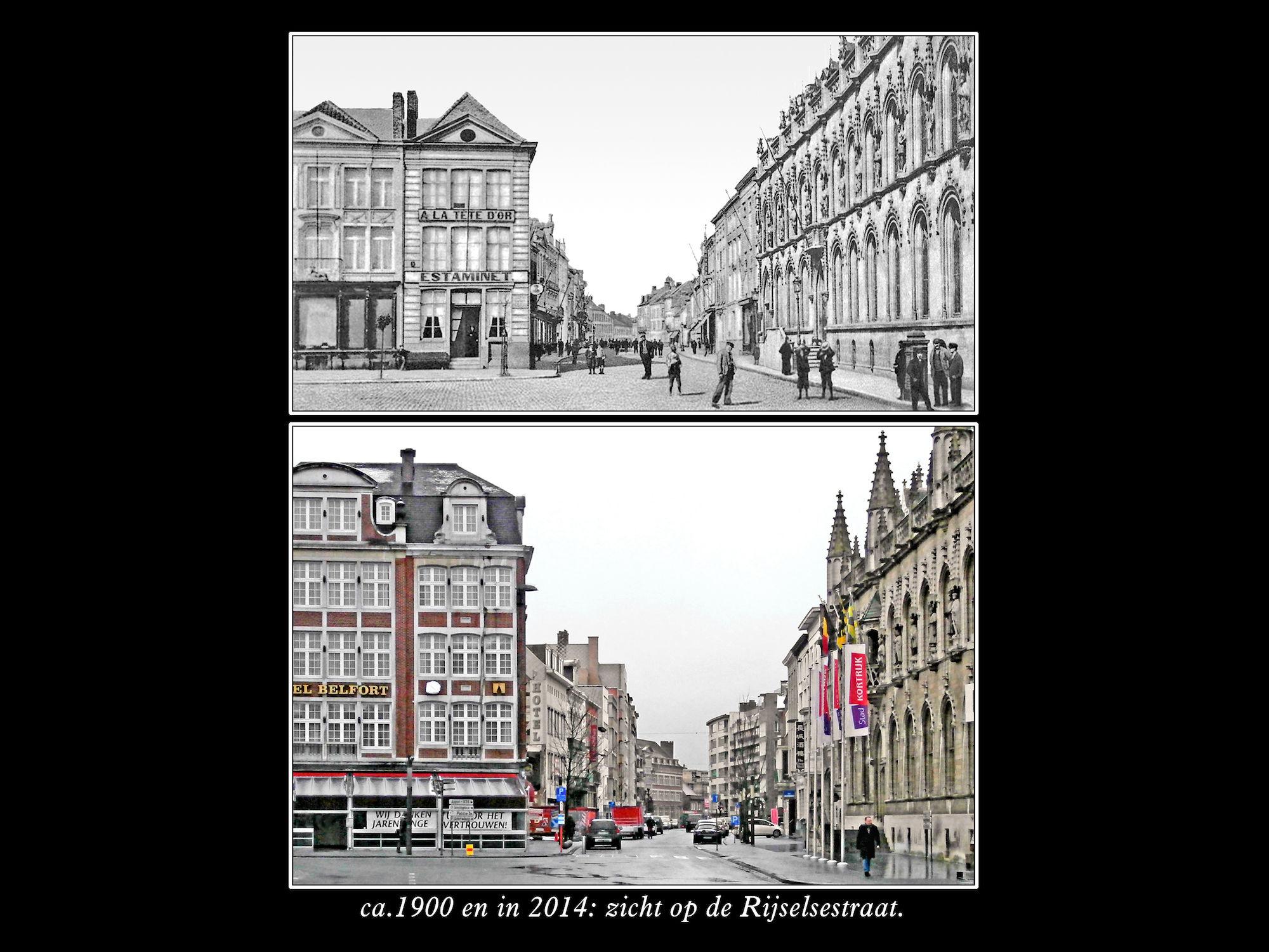 Rijselsestraatt ca1900 en 2014