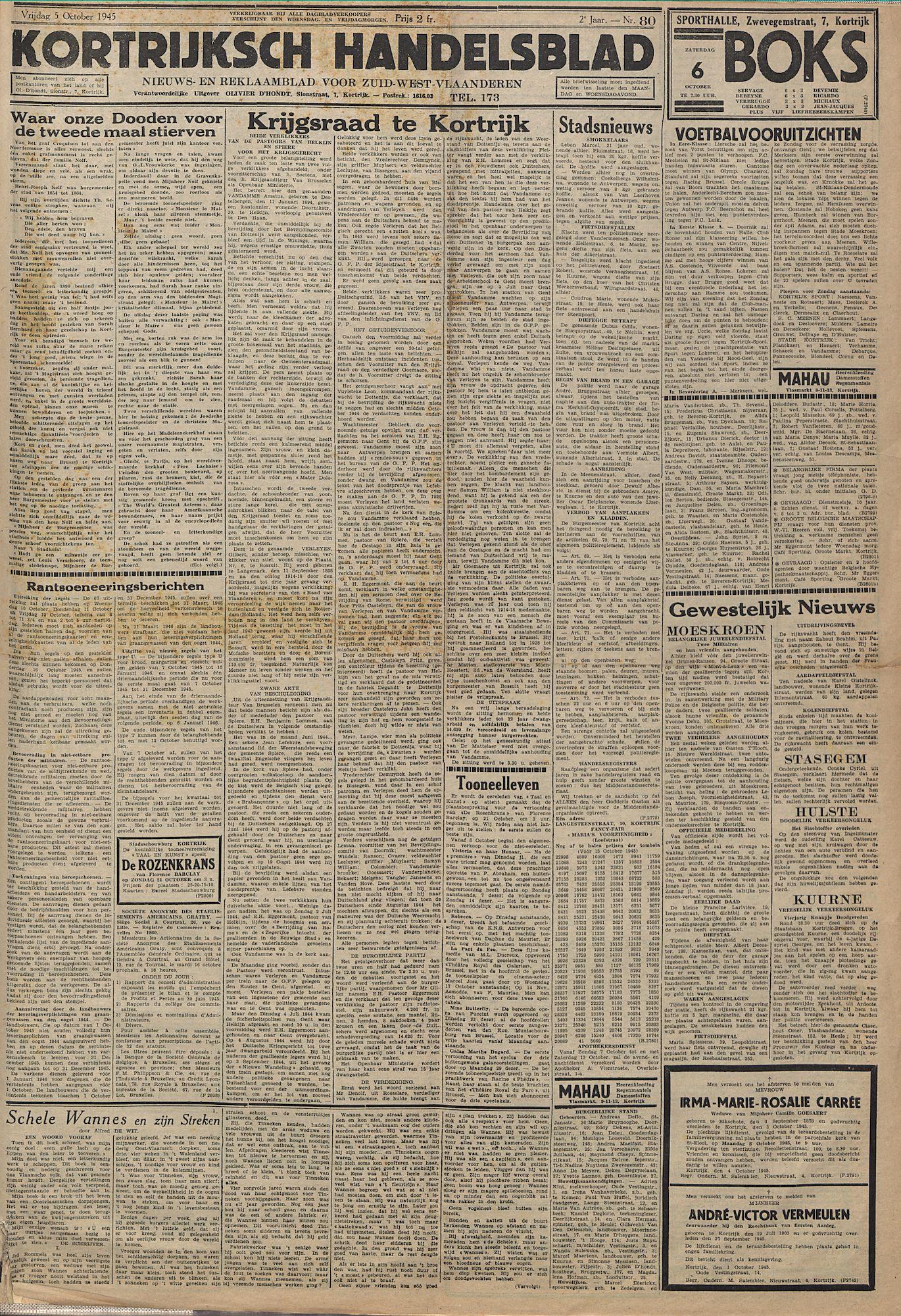 Kortrijksch Handelsblad 5 october 1945 Nr80 p1