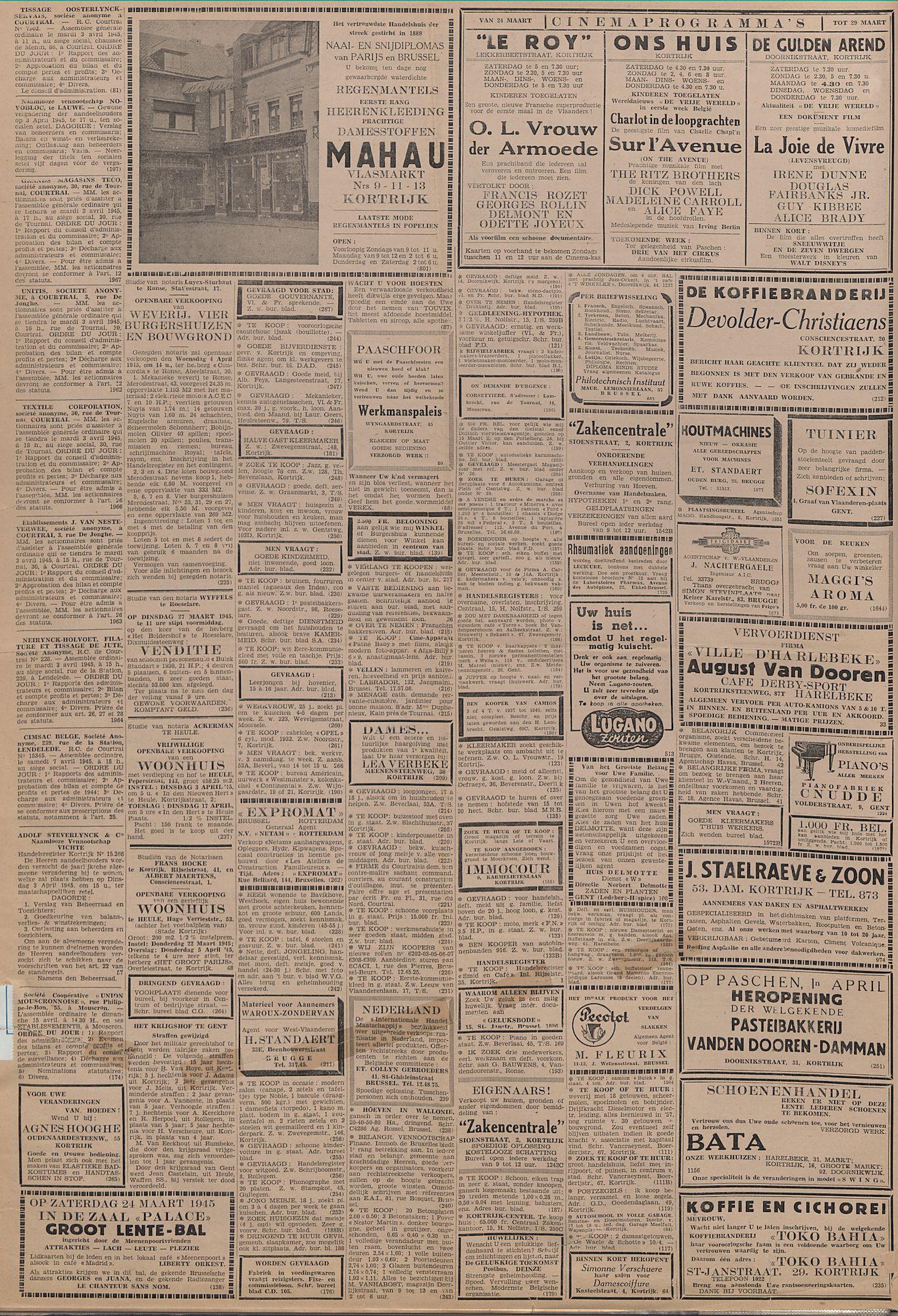 Kortrijksch Handelsblad 24 maart 1945 Nr24 p2