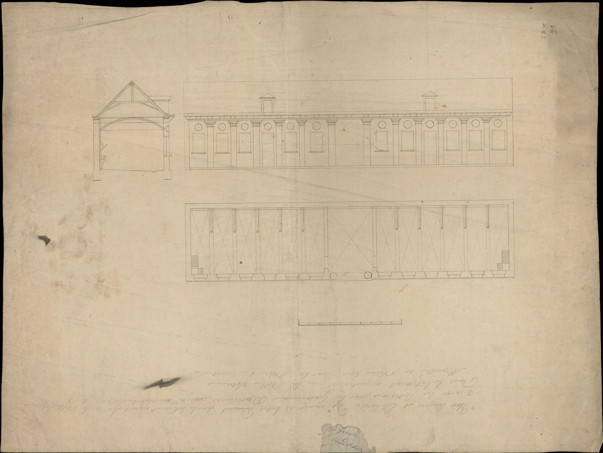 Bouwplan voor de inrichting van de stallingen van de rijkswacht in een stadsgebouw op de Houtmarkt te Kortrijk, 19de eeuw