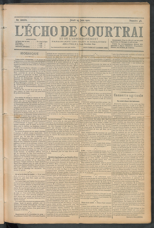 L'echo De Courtrai 1910-06-23 p1