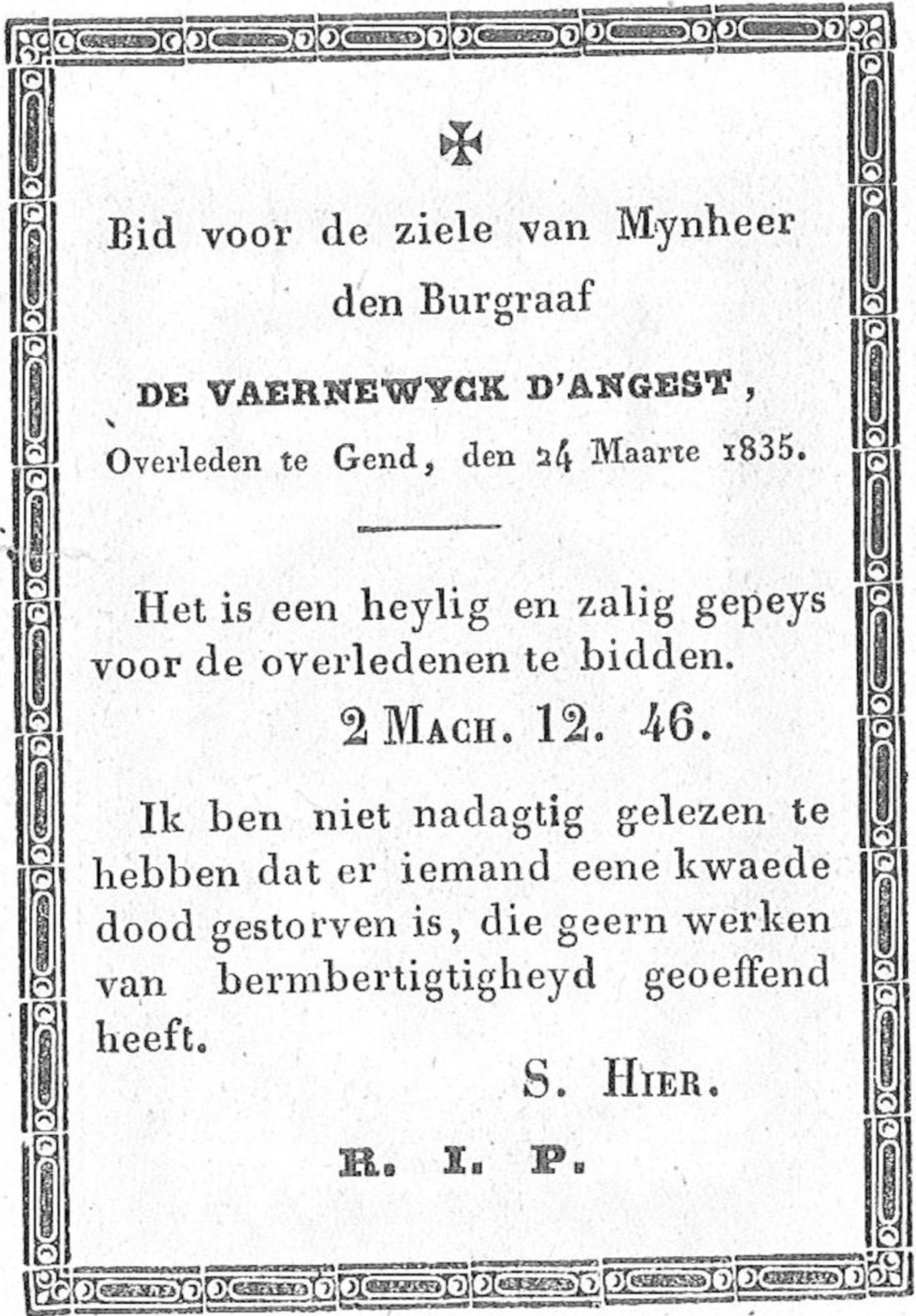 De Vaernewyck d'Angest