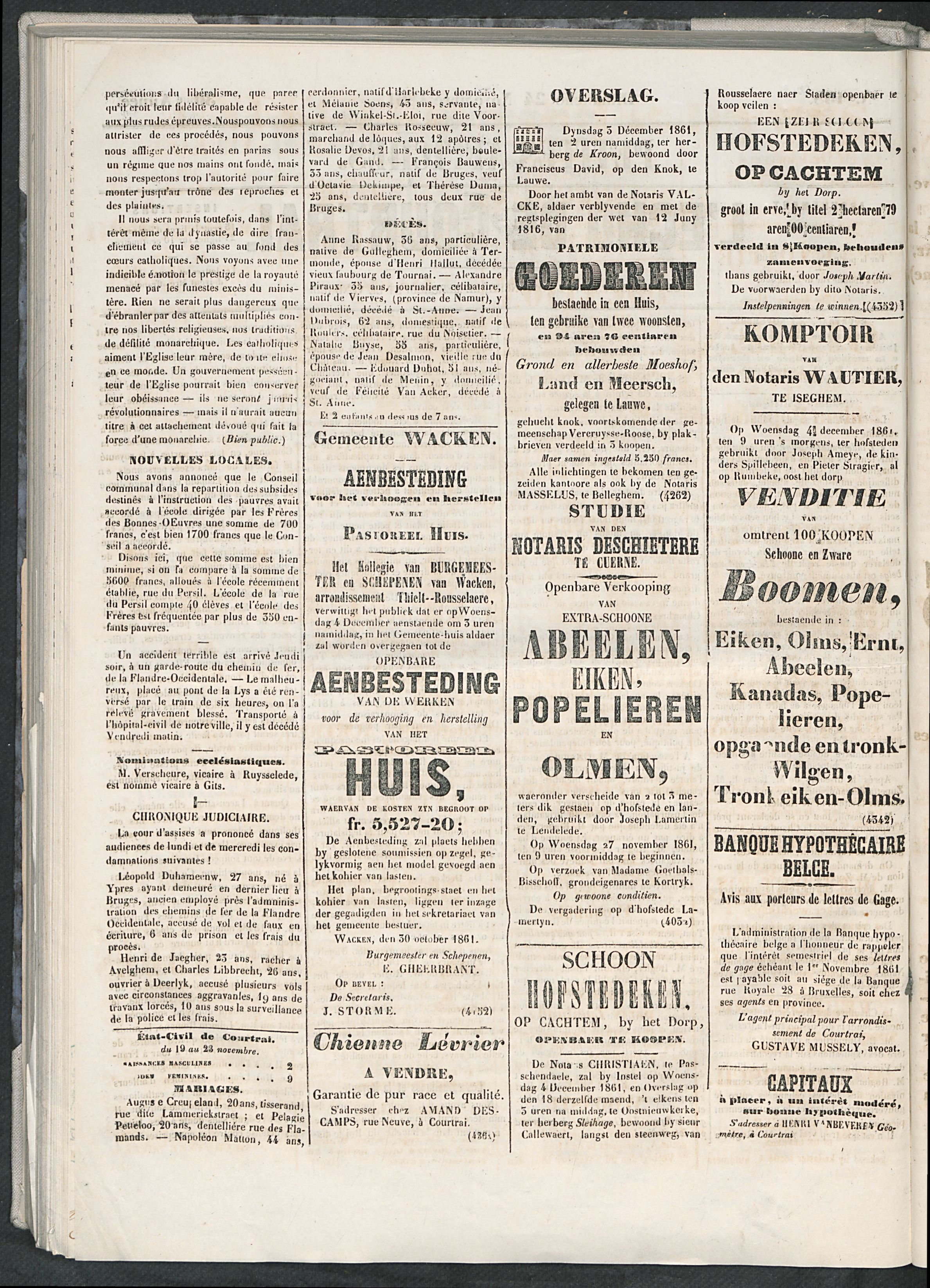 L'echo De Courtrai 1861-11-24 p2