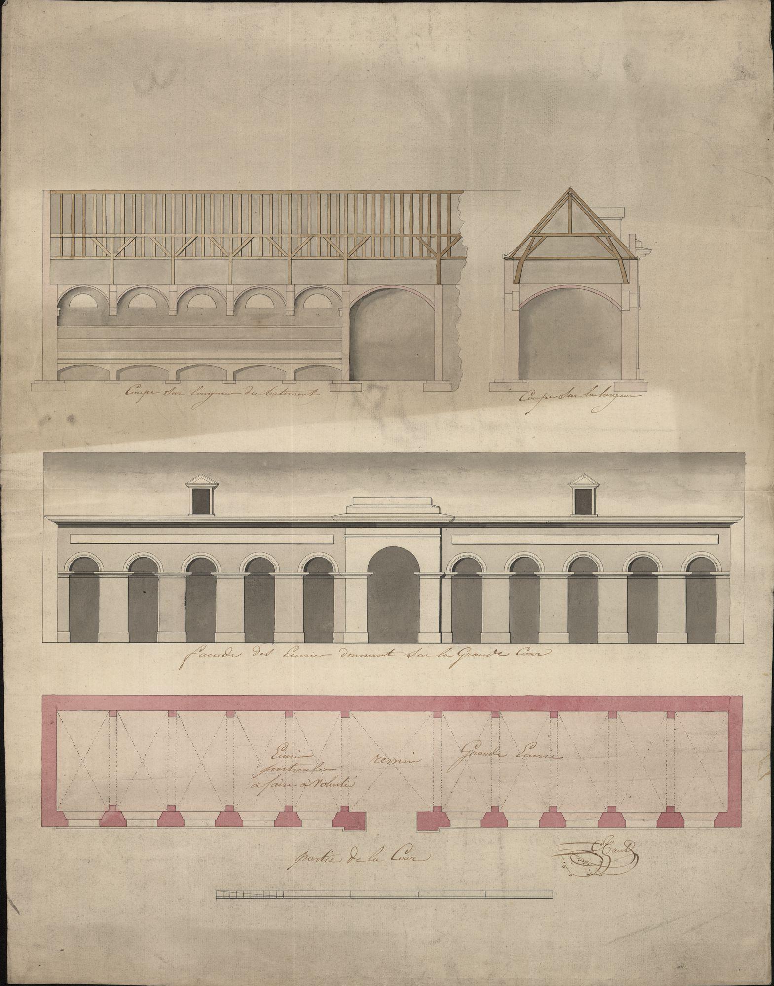Bouwplan van een voorgevel en van twee doorsneden van een paardenstal voor de Rijkswacht te Kortrijk, opgemaakt door C. Tant, 19de eeuw