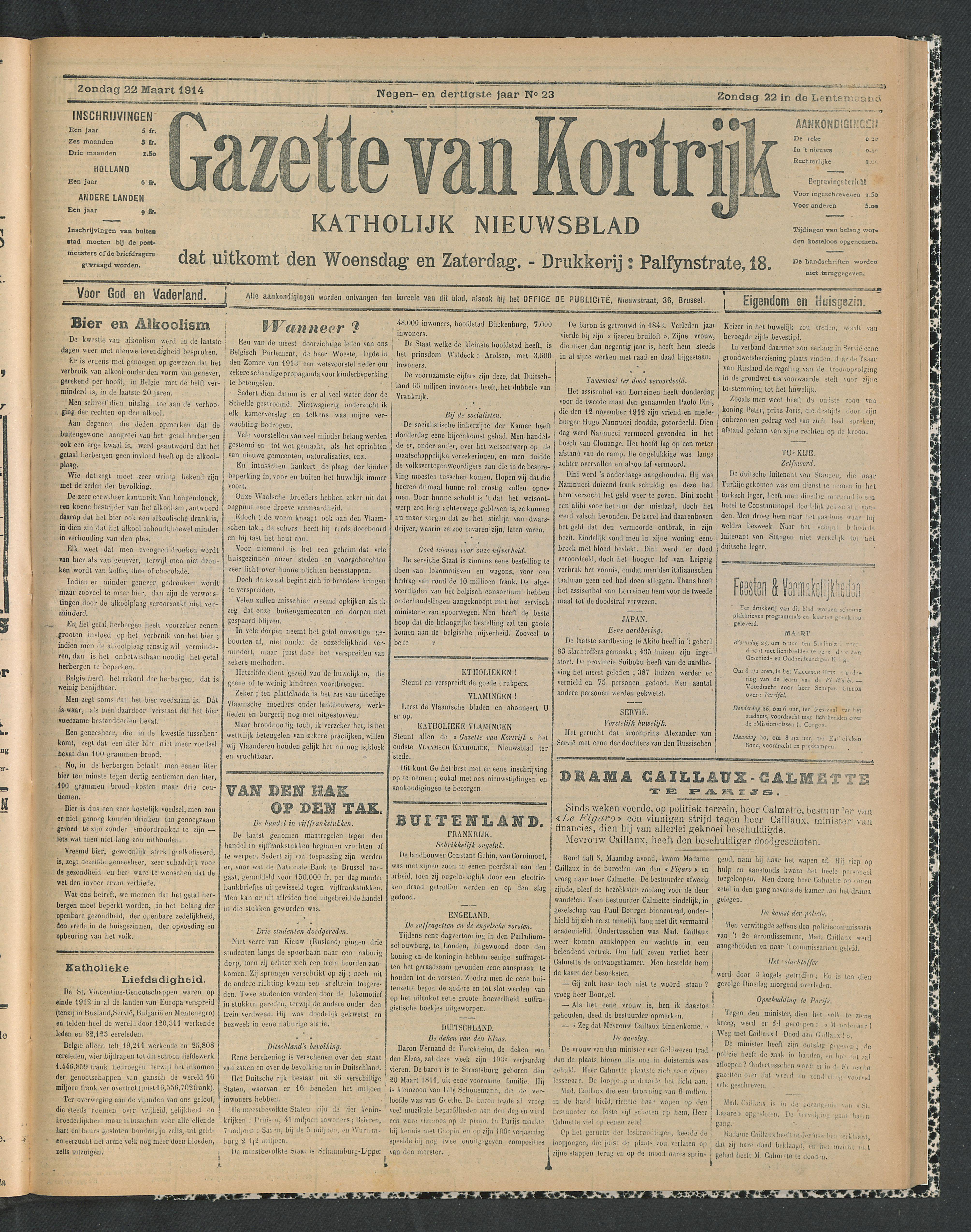 Gazette Van Kortrijk 1914-03-22 p1