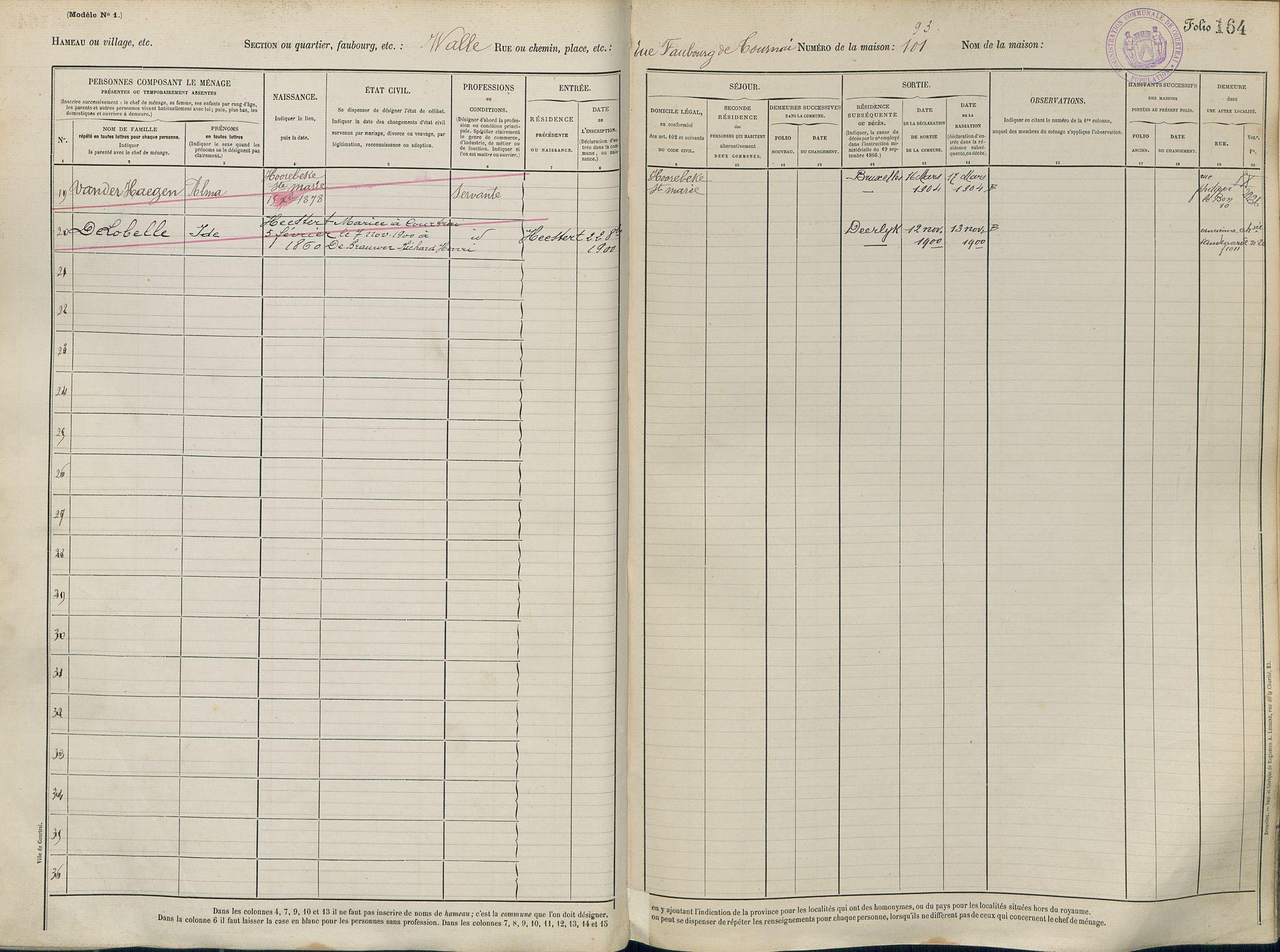 Bevolkingsregister 1890 boek 32.