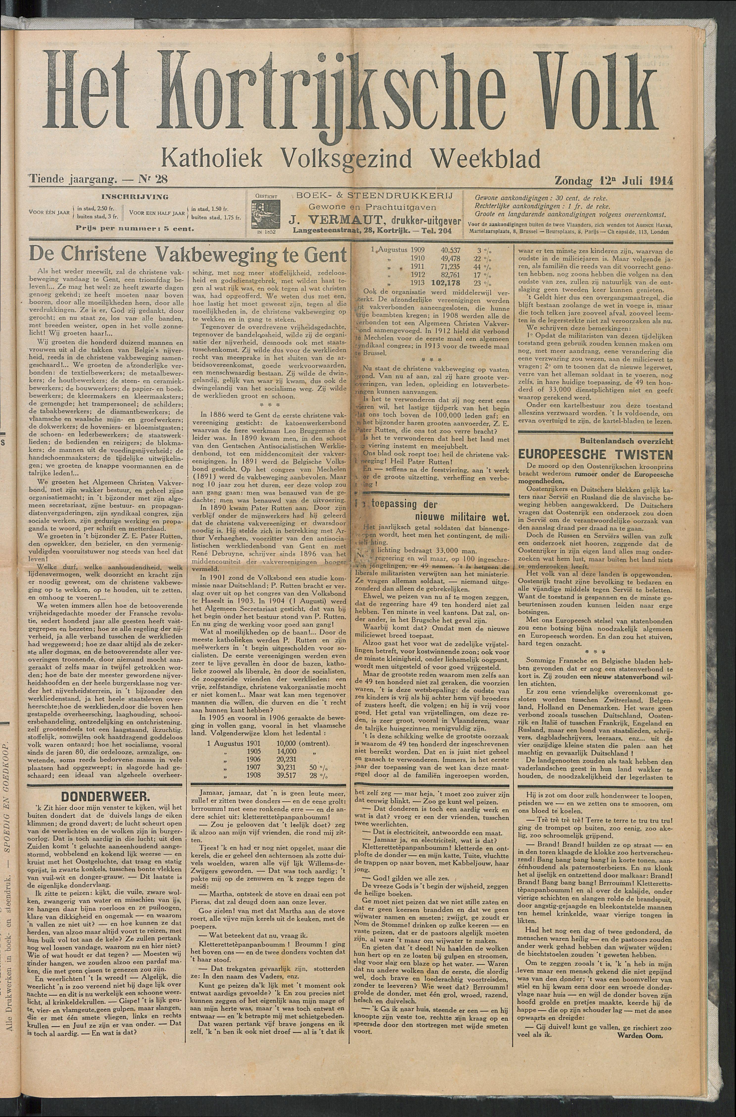 Het Kortrijksche Volk 1914-07-12 p1