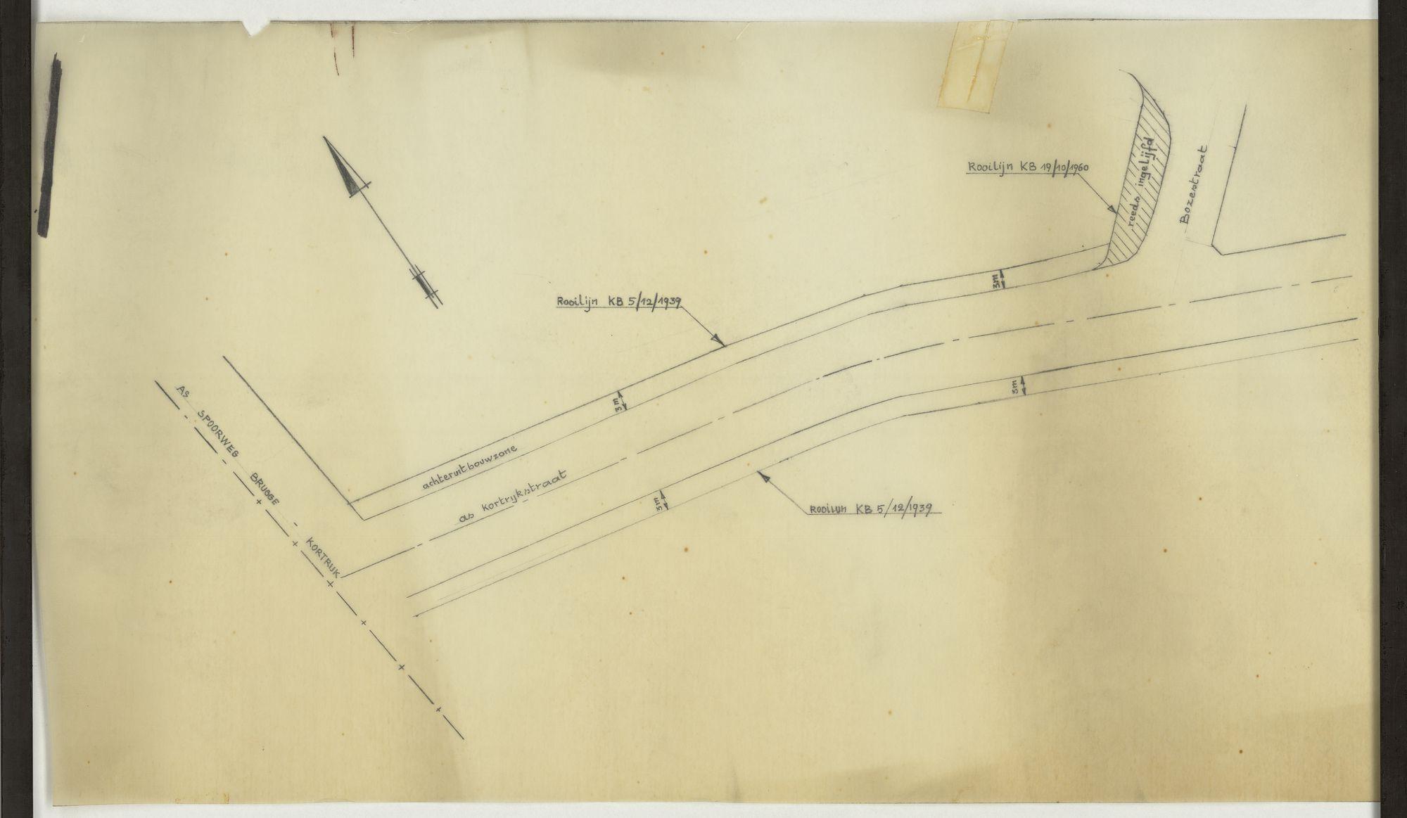 Plan van de rooilijn van de Kortrijksestraat en de Bozestraat te Heule, 2de helft 20ste eeuw