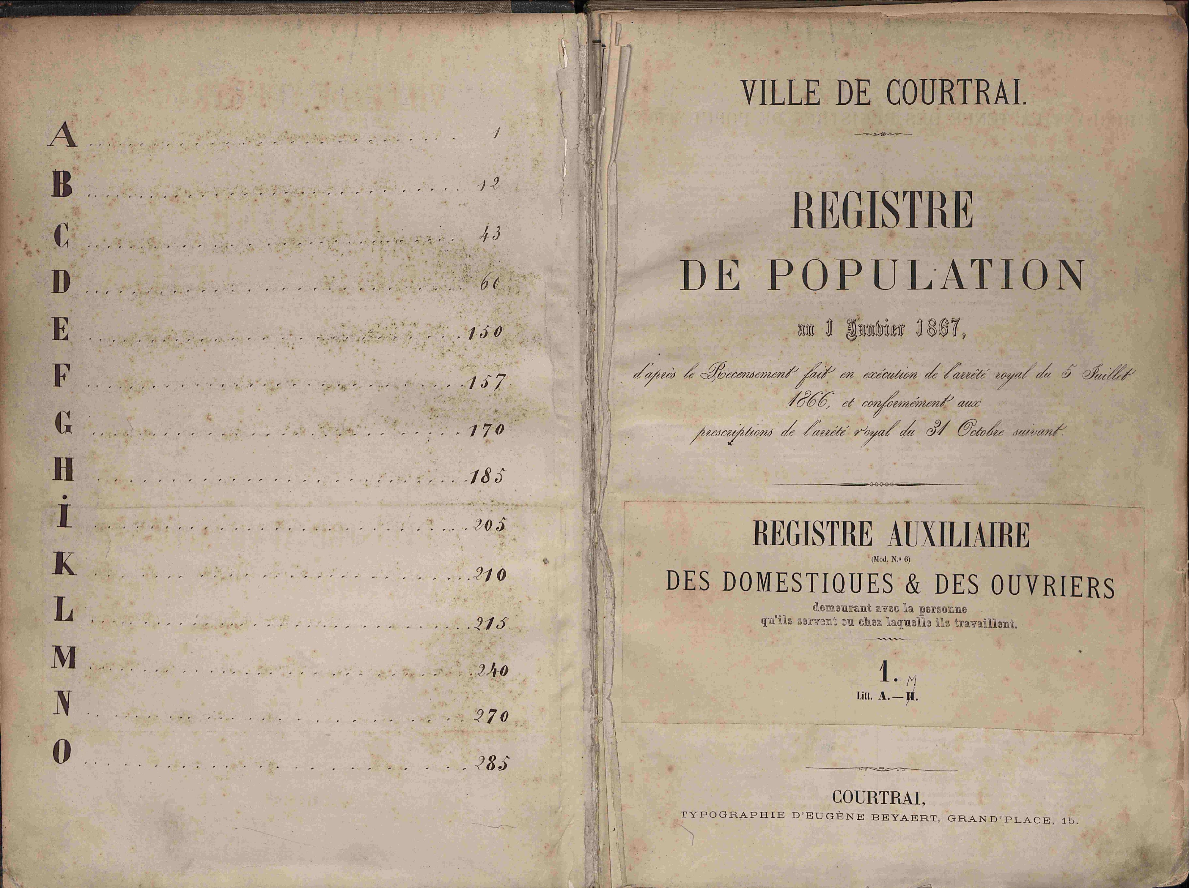 Bevolkingsregister Kortrijk 1866 AUX1