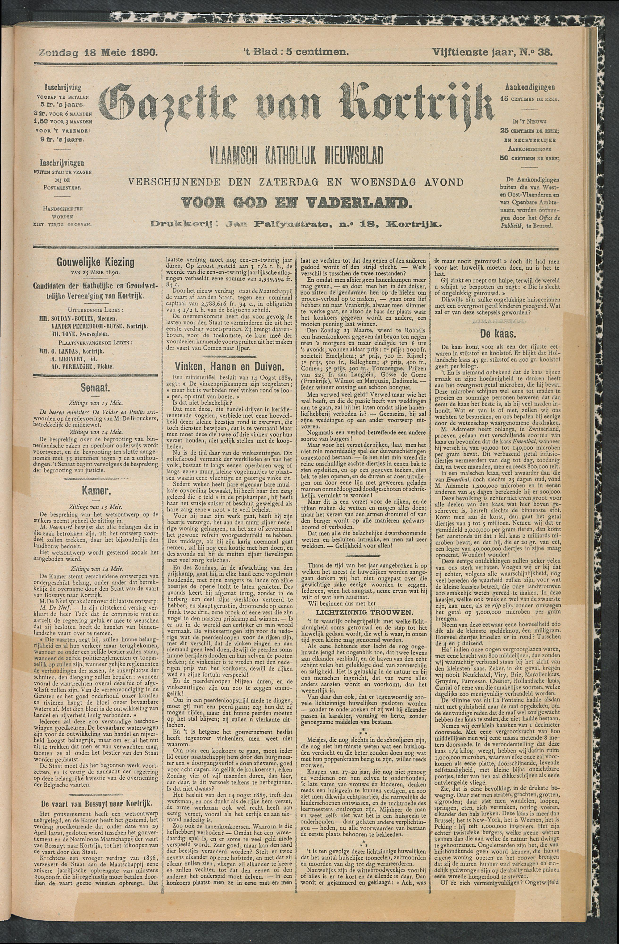 Gazette Van Kortrijk 1890-05-18 p1