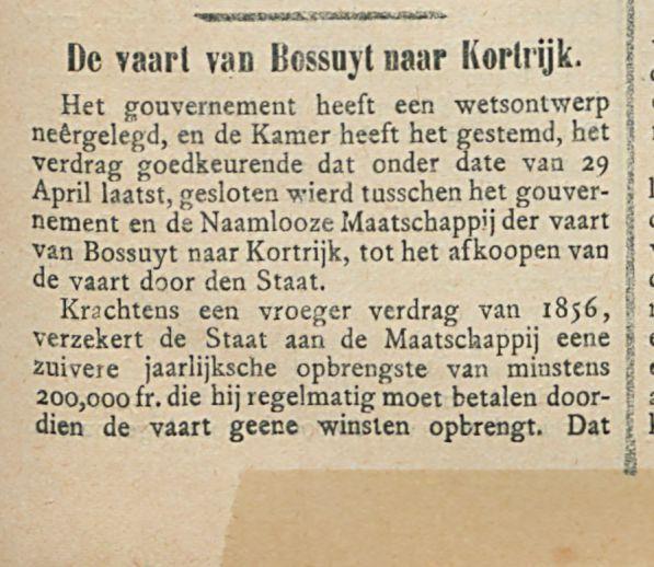 De vaart van Bossuyt naar Kortrijk