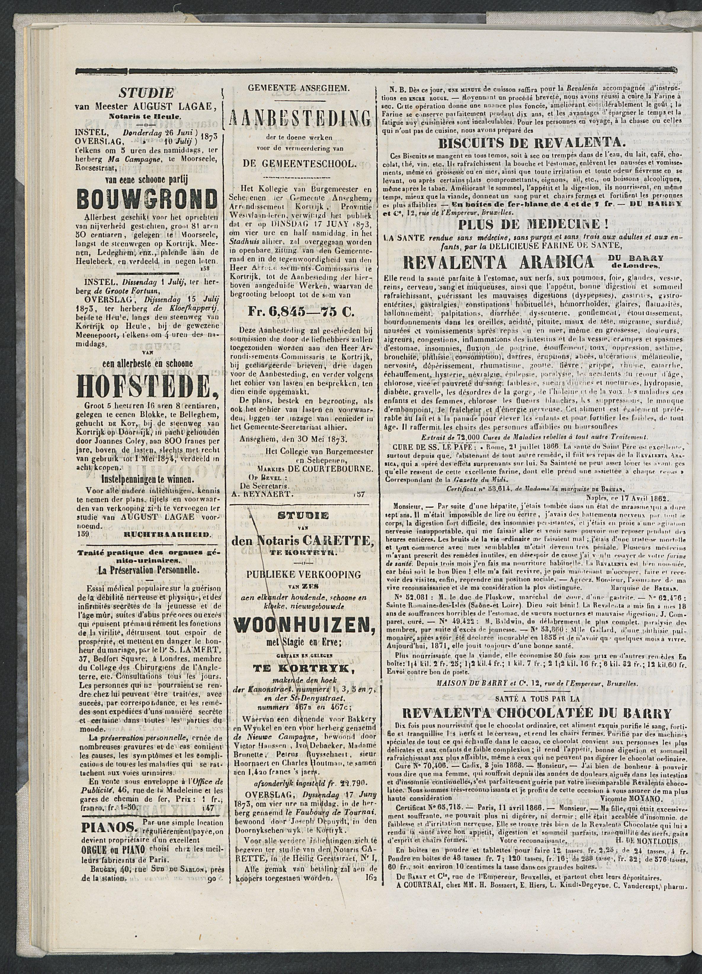 L'echo De Courtrai 1873-06-15 p4
