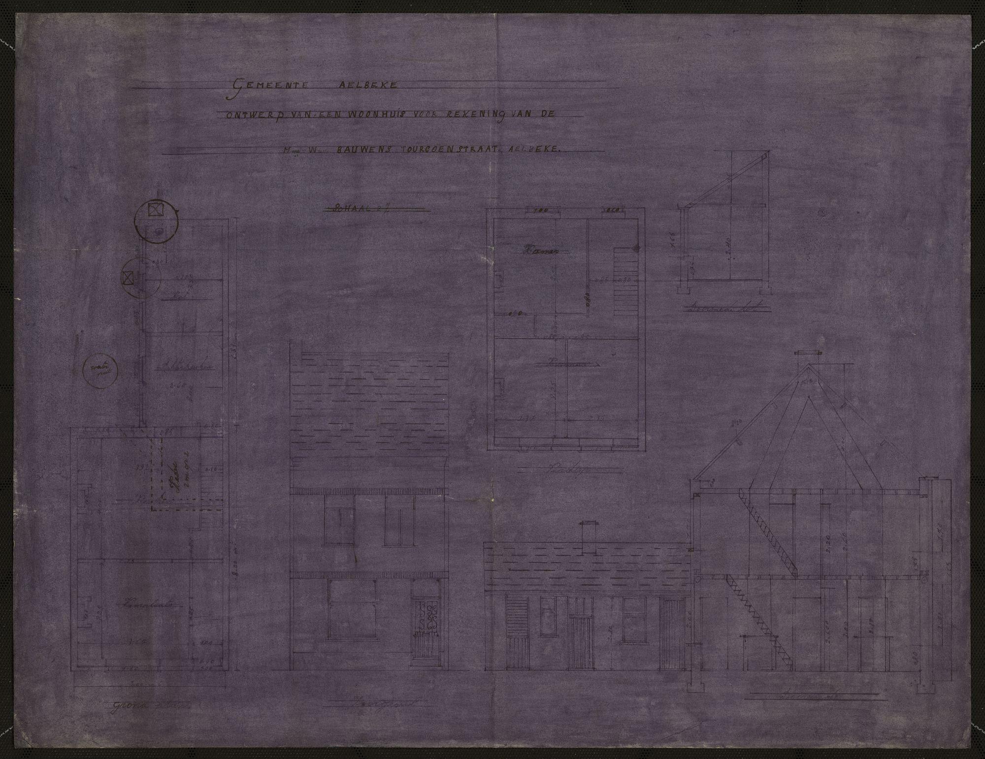 Bouwplannen van openbare, industriële en private gebouwen te Aalbeke, 20ste eeuw