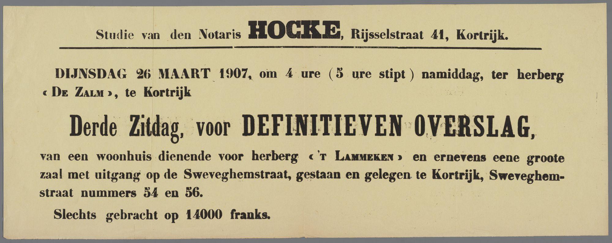 Verkoop woonhuis (herberg) te Kortrijk: definitieve toewijzing 1907