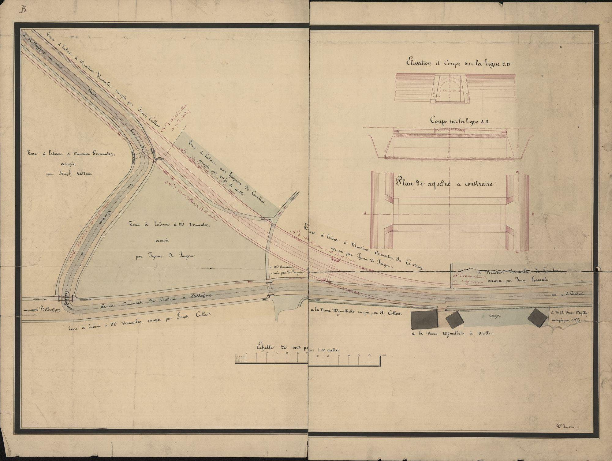 Plan voor de aanleg van een aqauduct en een deel van de weg Kortrijk-Rollegem, opgemaakt door Henri Jonckheere, 19de eeuw.