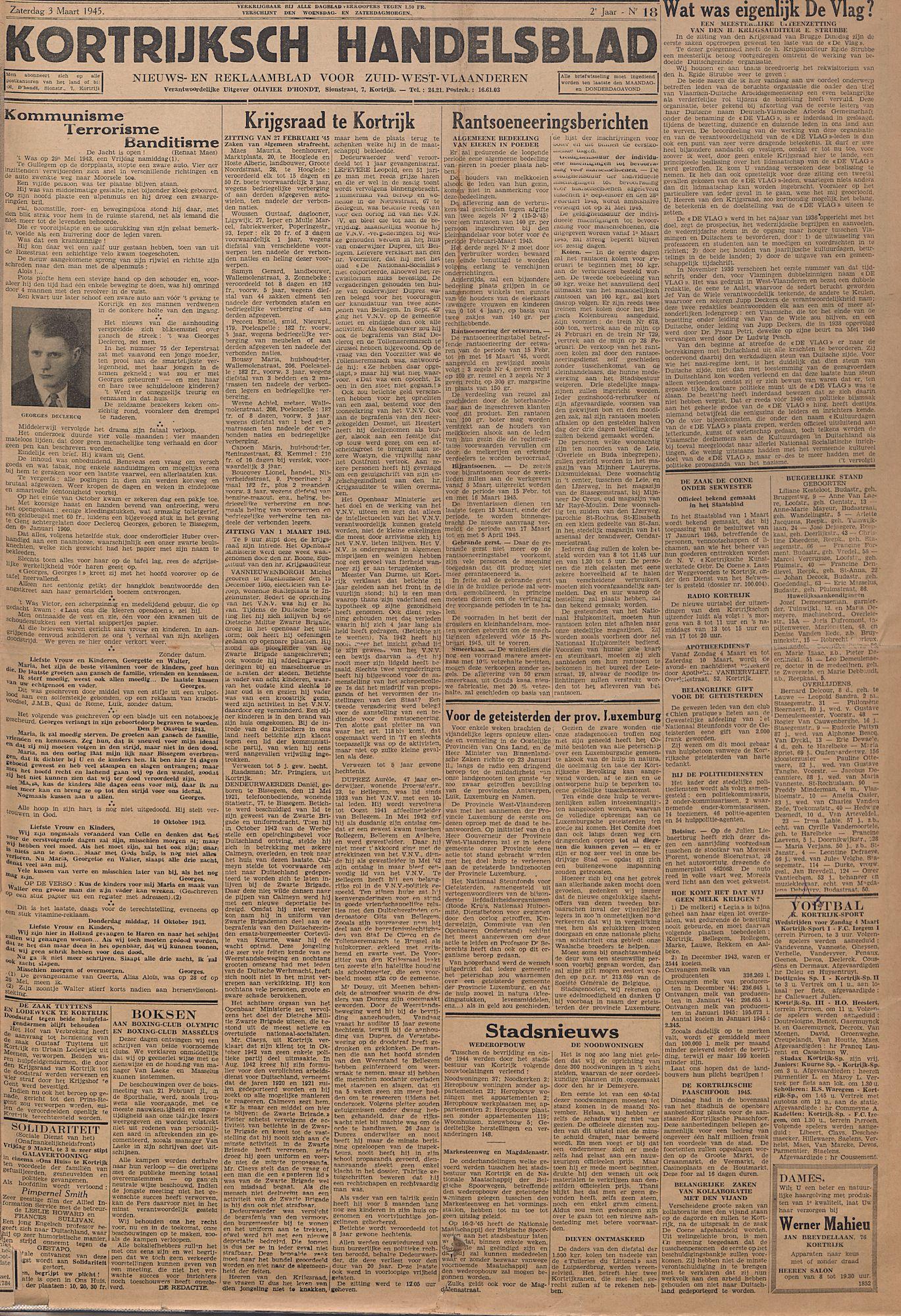 Kortrijksch Handelsblad 3 maart 1945 Nr18 p1