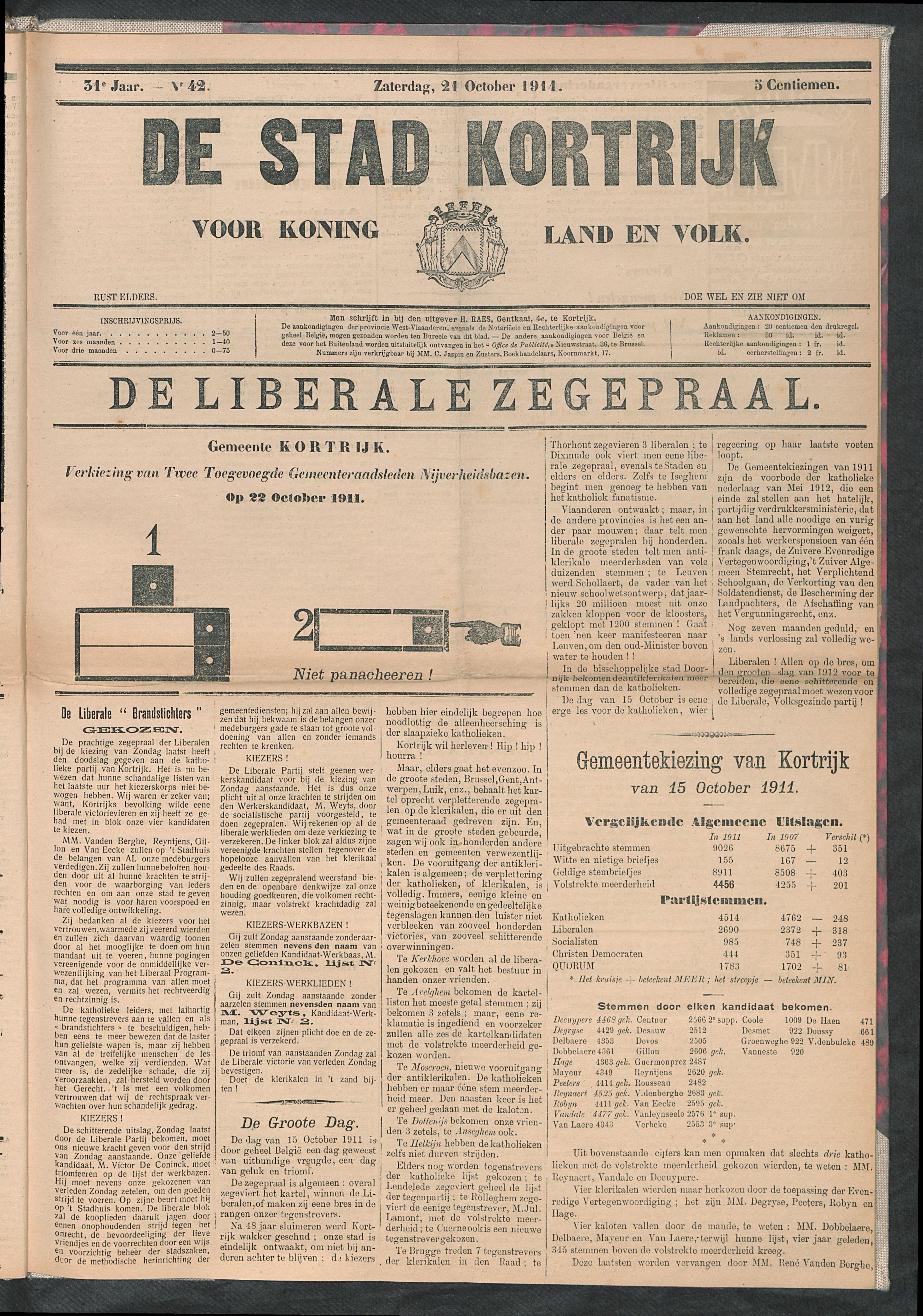 De Stad Kortrijk 1911-10-21 p1