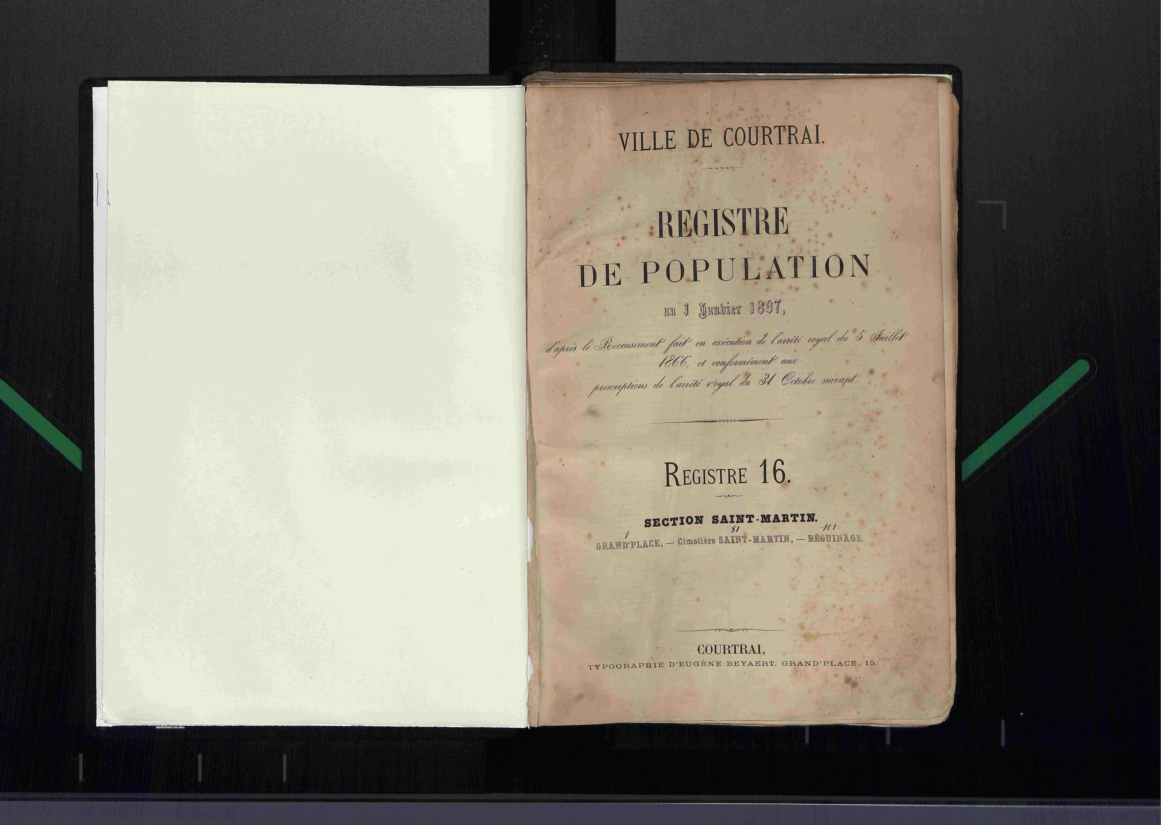 Bevolkingsregister Kortrijk 1866 boek 16
