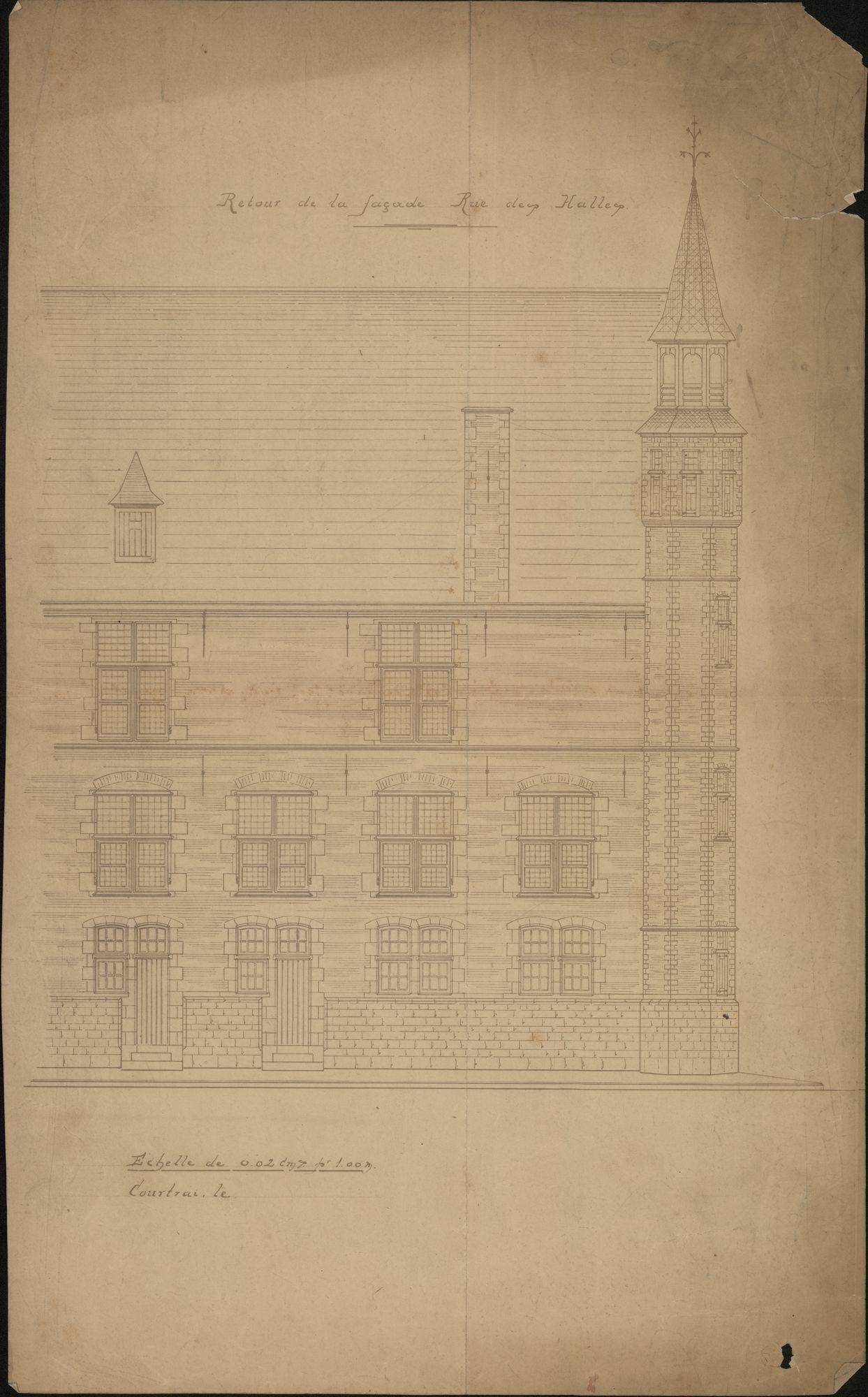 Bouwplannen i.v.m. de restauratie van de Grote Hallen te Kortrijk, 1897-1901