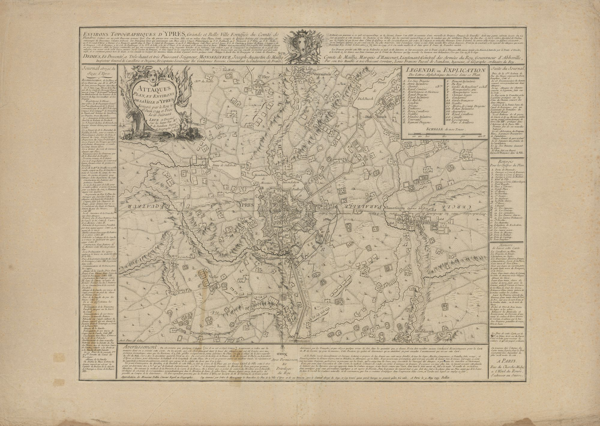 Westflandrica - Ieper, kaart van de stad en de omgeving tijdens het beleg van 1744