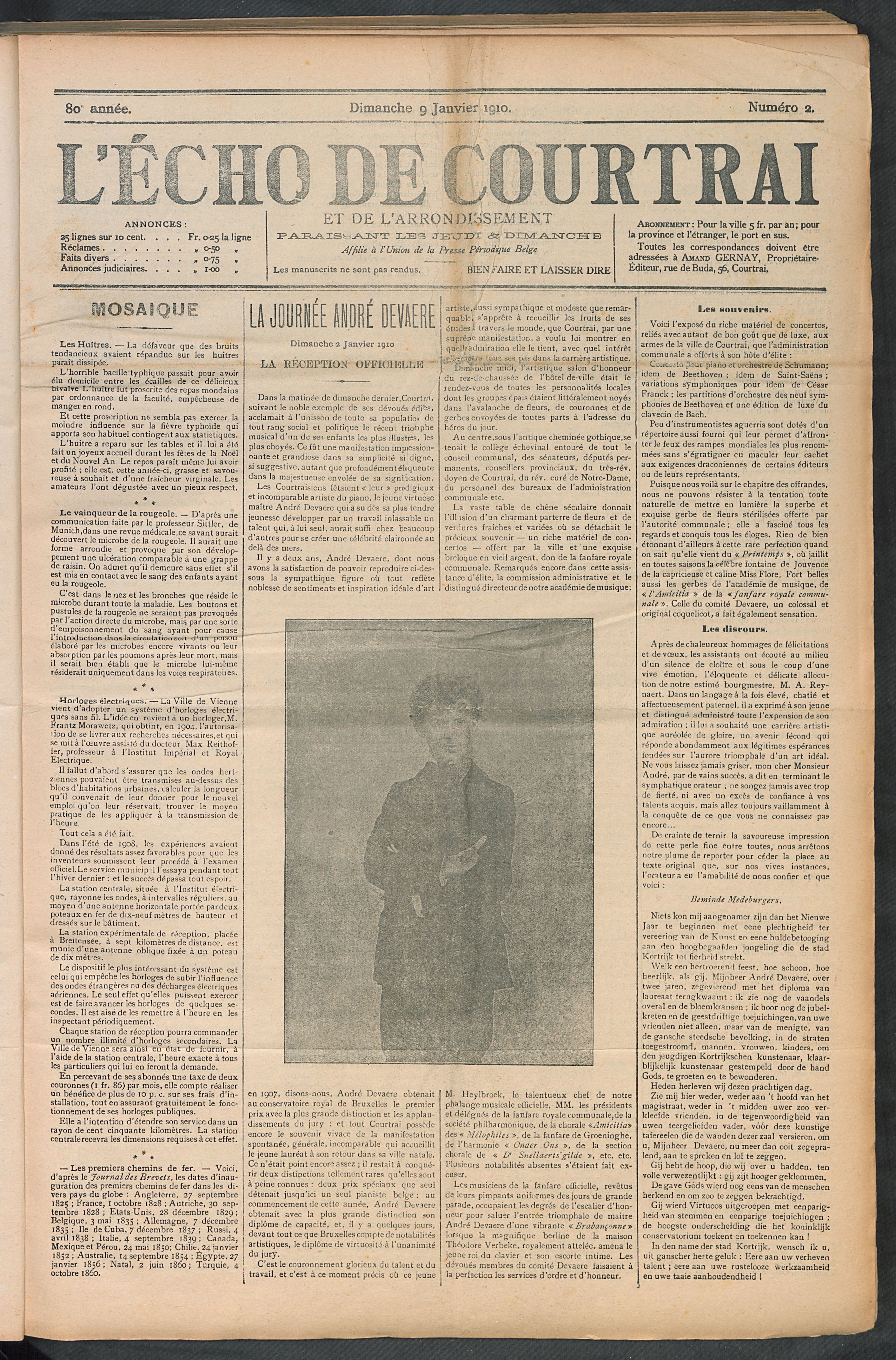 L'echo De Courtrai 1910-01-09 p1