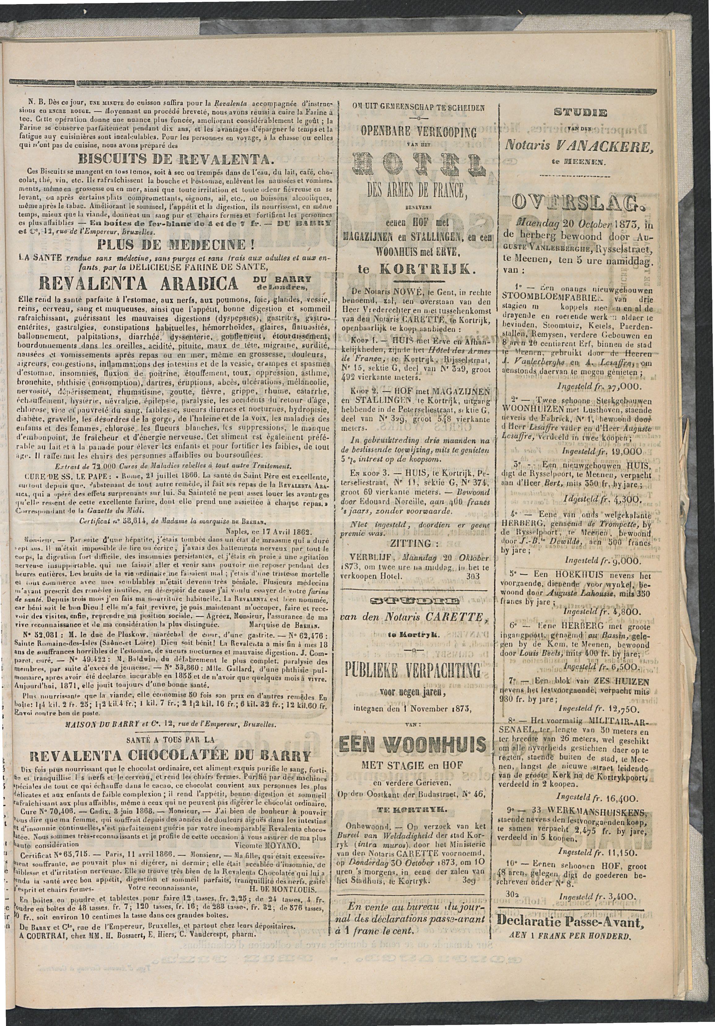 L'echo De Courtrai 1873-10-19 p5