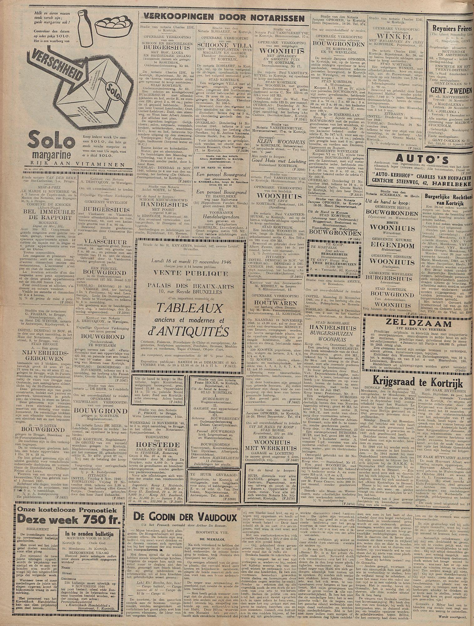 Kortrijksch Handelsblad 8 november 1946 Nr90 p4