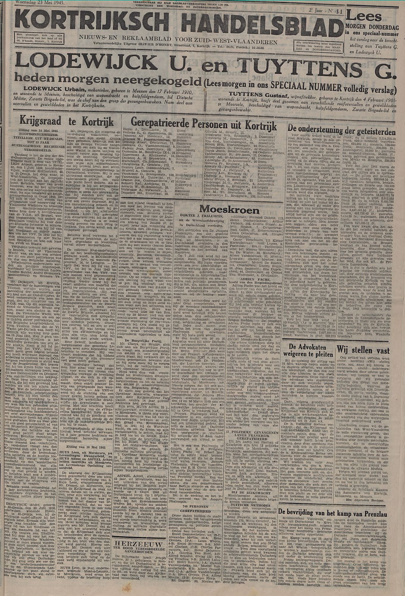 Kortrijksch Handelsblad 23 mei 1945 Nr41 p1