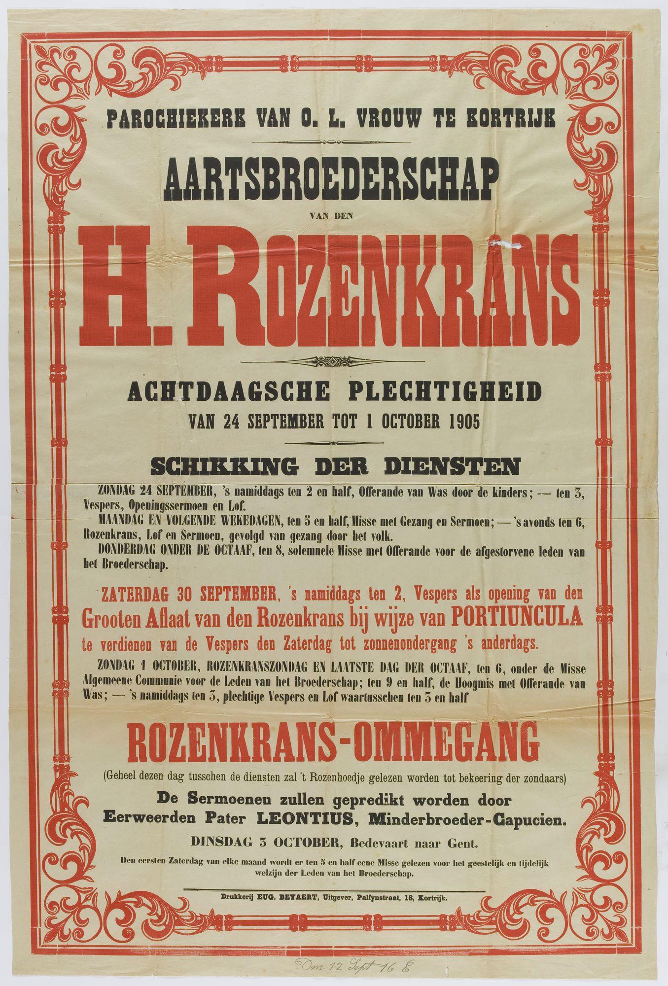 Plechtigheden O.-L.-Vrouwekerk 1905