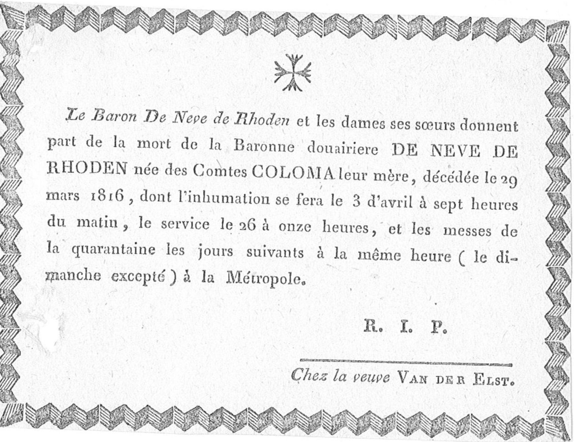 Barones Douairière De Neve de Rhoden