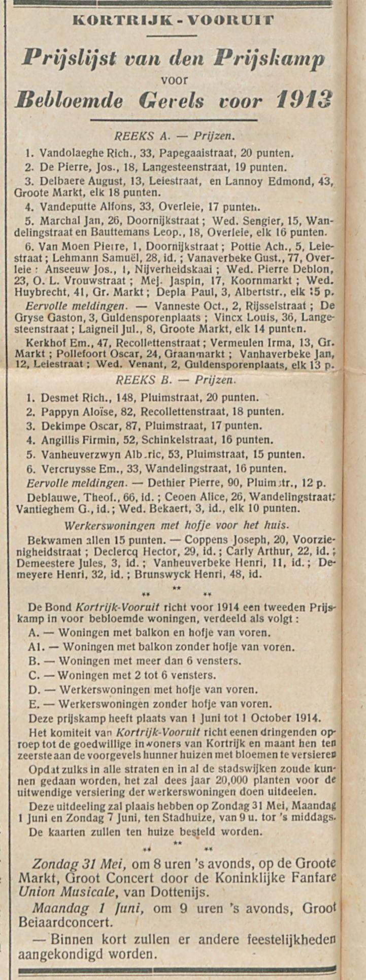 Prijslijst van den Prijskamp