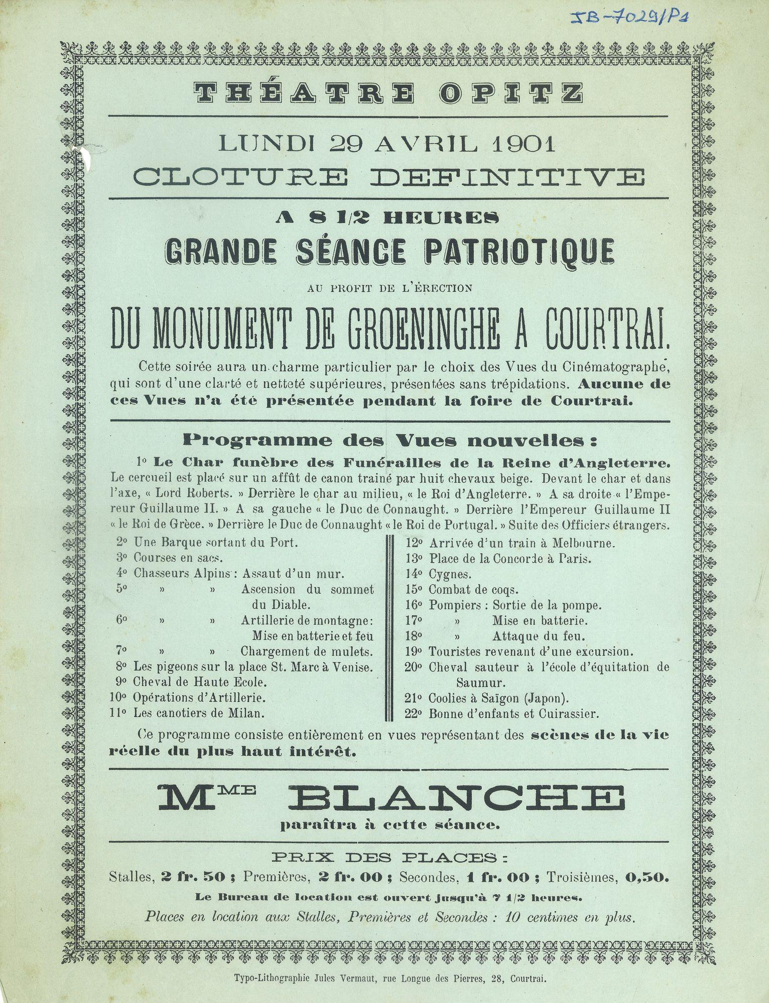 Paasfoor 1901: Théatre Opitz