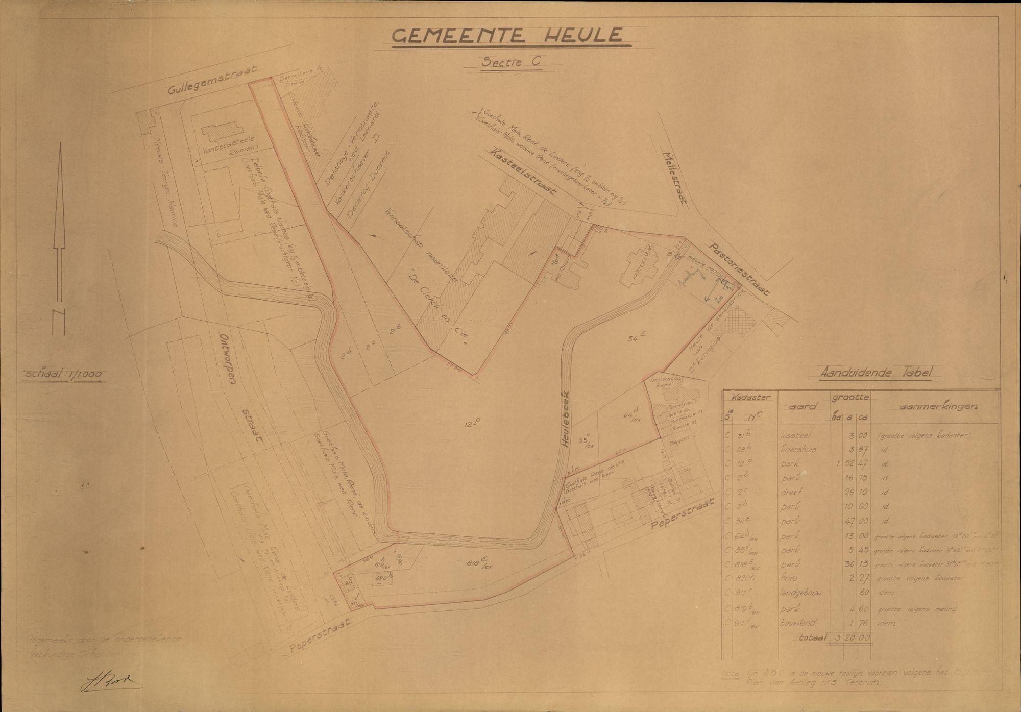 Plattegrond van Heule, in de omgeving van de Kasteelstraat, 2de helft 20ste eeuw