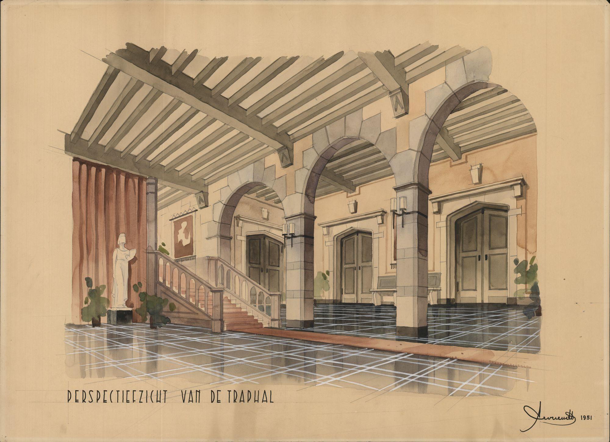 Geschilderde ontwerpen voor de vernieuwing van het stadhuisinterieur te Kortrijk, 1951