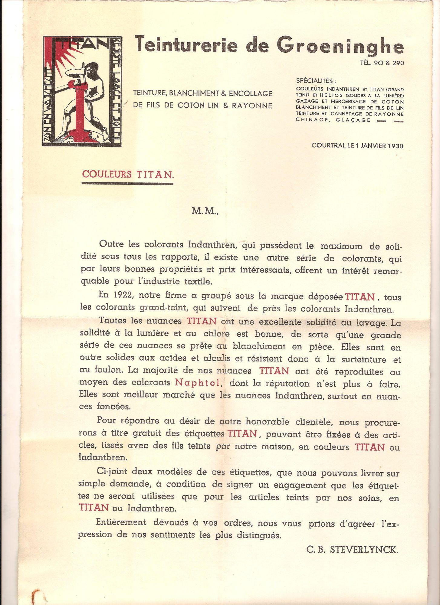 Groeninghe Ververij: briefhoofd met afbeelding van de Titanreus 1938