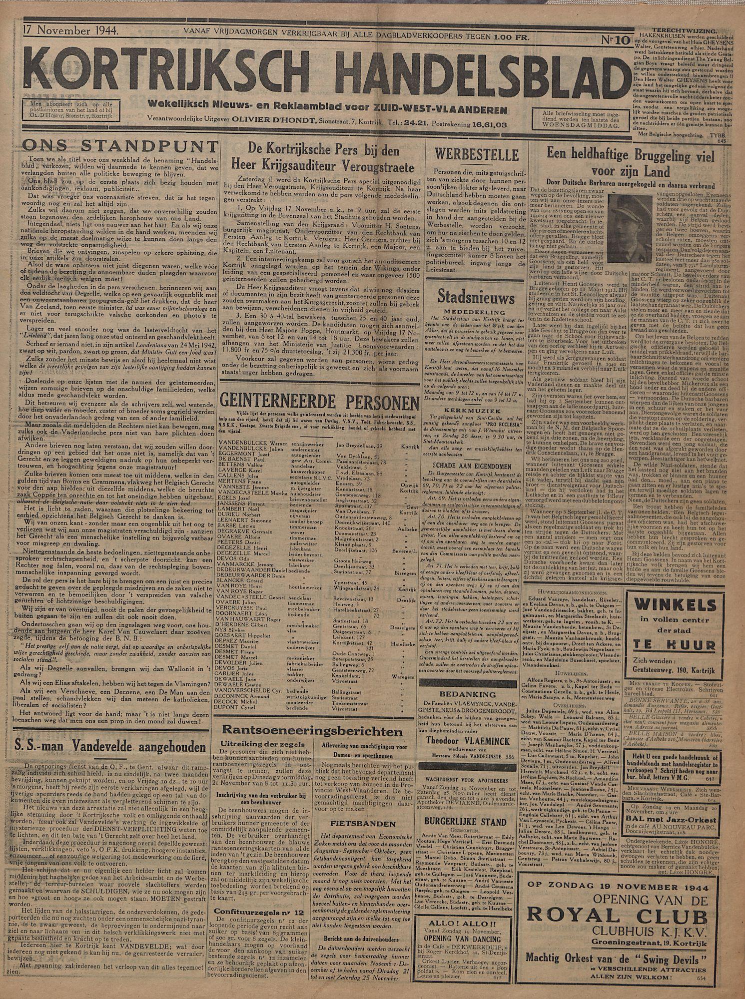Kortrijksch Handelsblad 17 november 1944 Nr10 p1